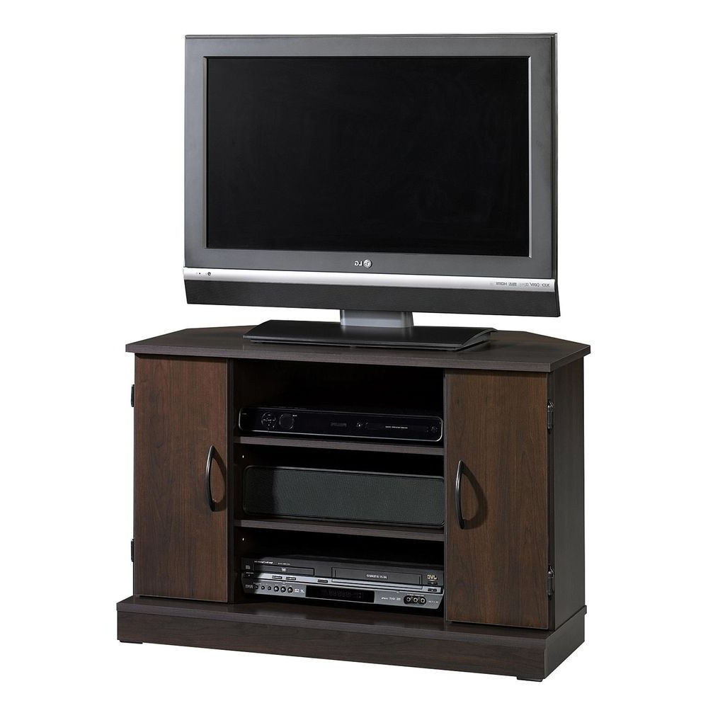 Most Up To Date Corner Tv Cabinets For Flat Screen Pertaining To Corner Tv Stand Flat Screen Entertainment Center Media Console Wood (View 14 of 20)
