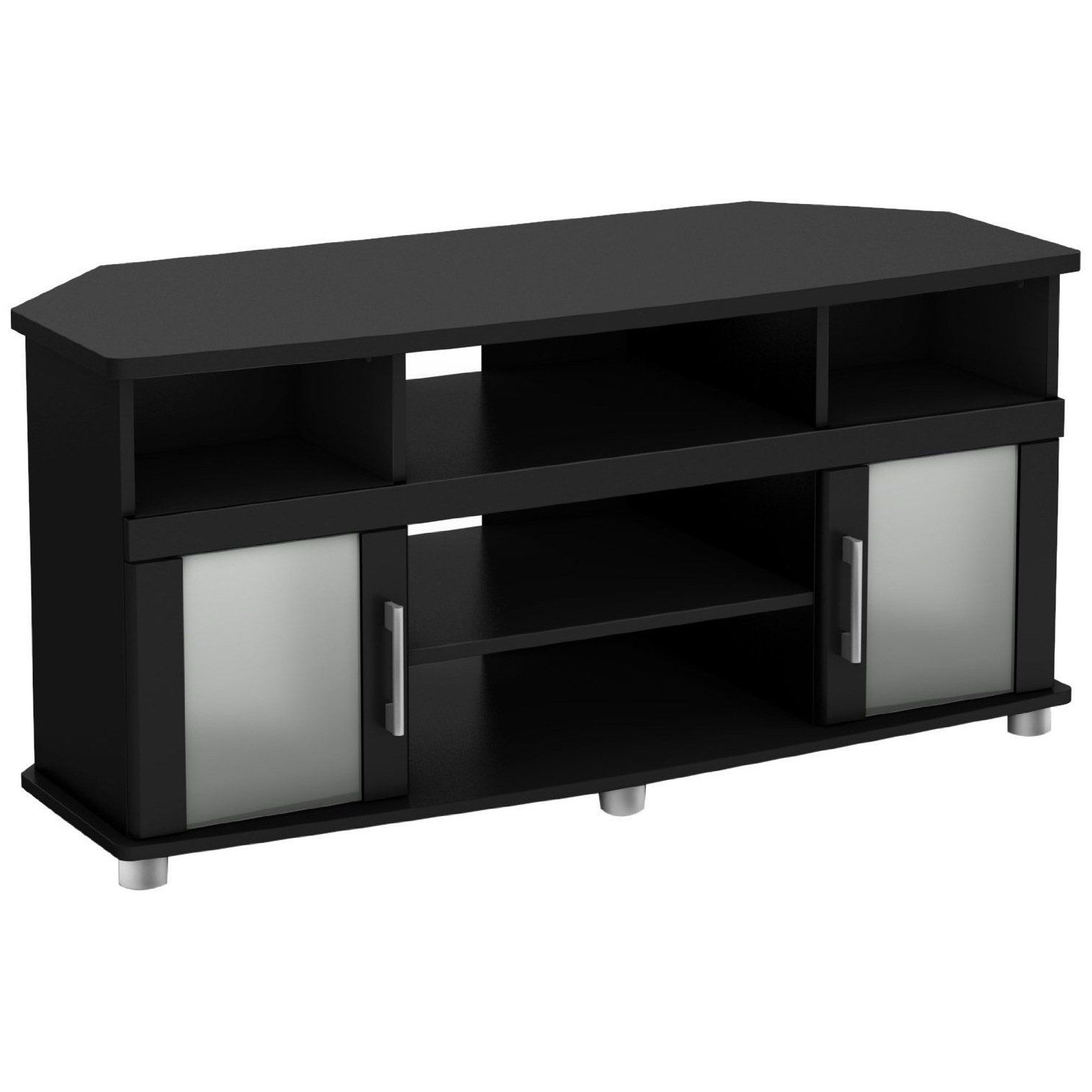 Most Up To Date Corner Tv Cabinets With Glass Doors In Black Corner Tv Stand With Frosted Glass Doors (View 13 of 20)