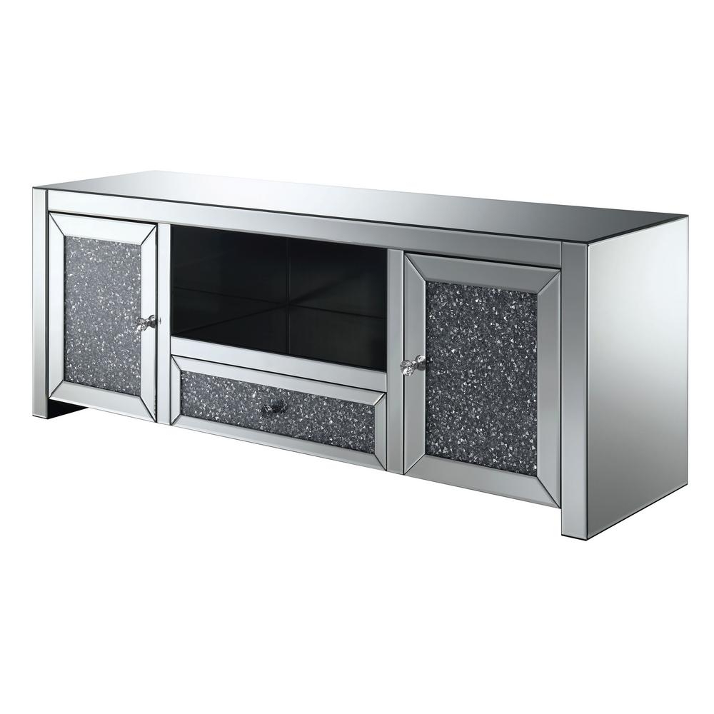 Most Up To Date Glass Tv Stands Within Furniture Of America Oliver Silver Glass Tv Stand Idf 530 Tv – The (Gallery 12 of 20)