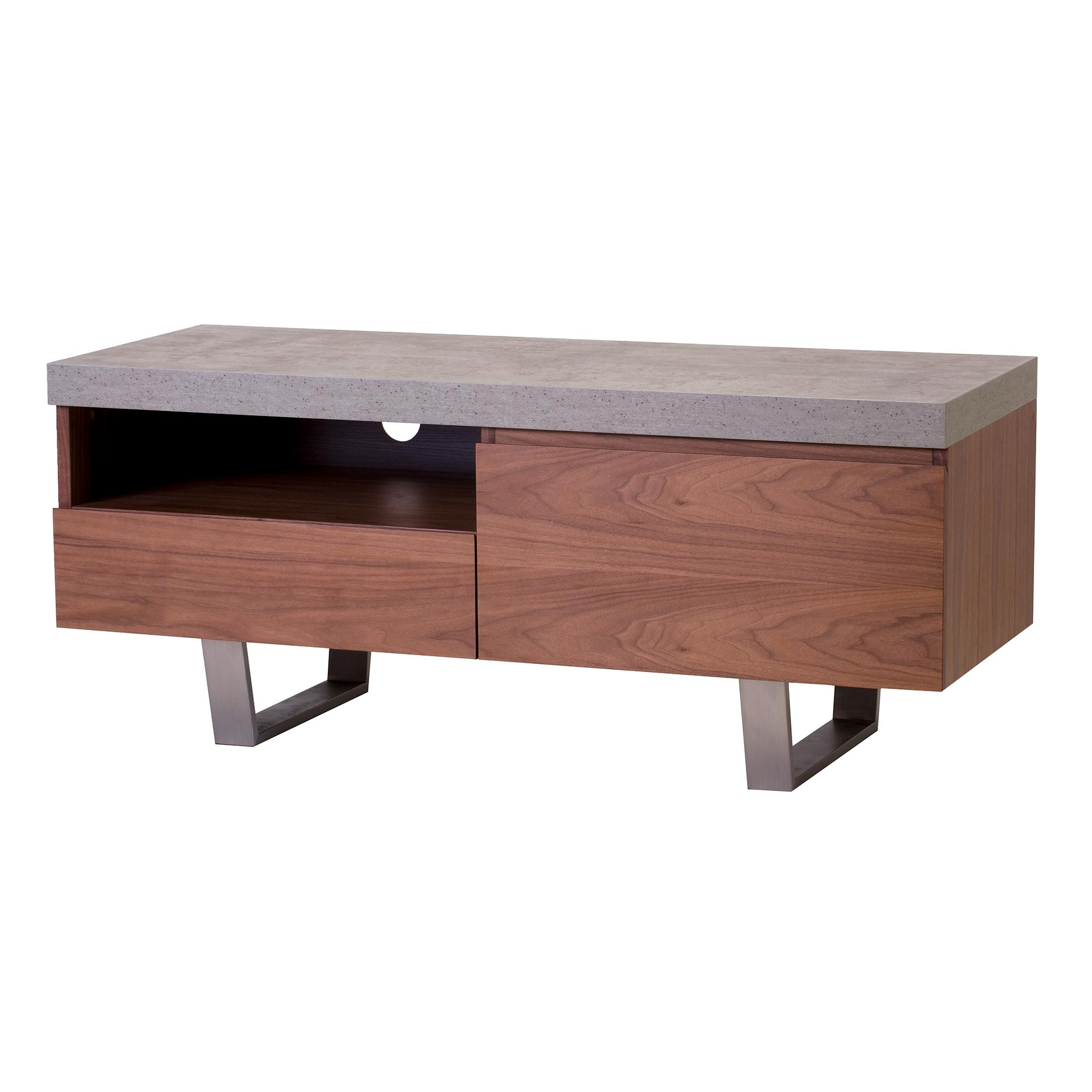 Most Up To Date Halmstad Small Tv Stand, Concrete And Walnut (View 9 of 20)