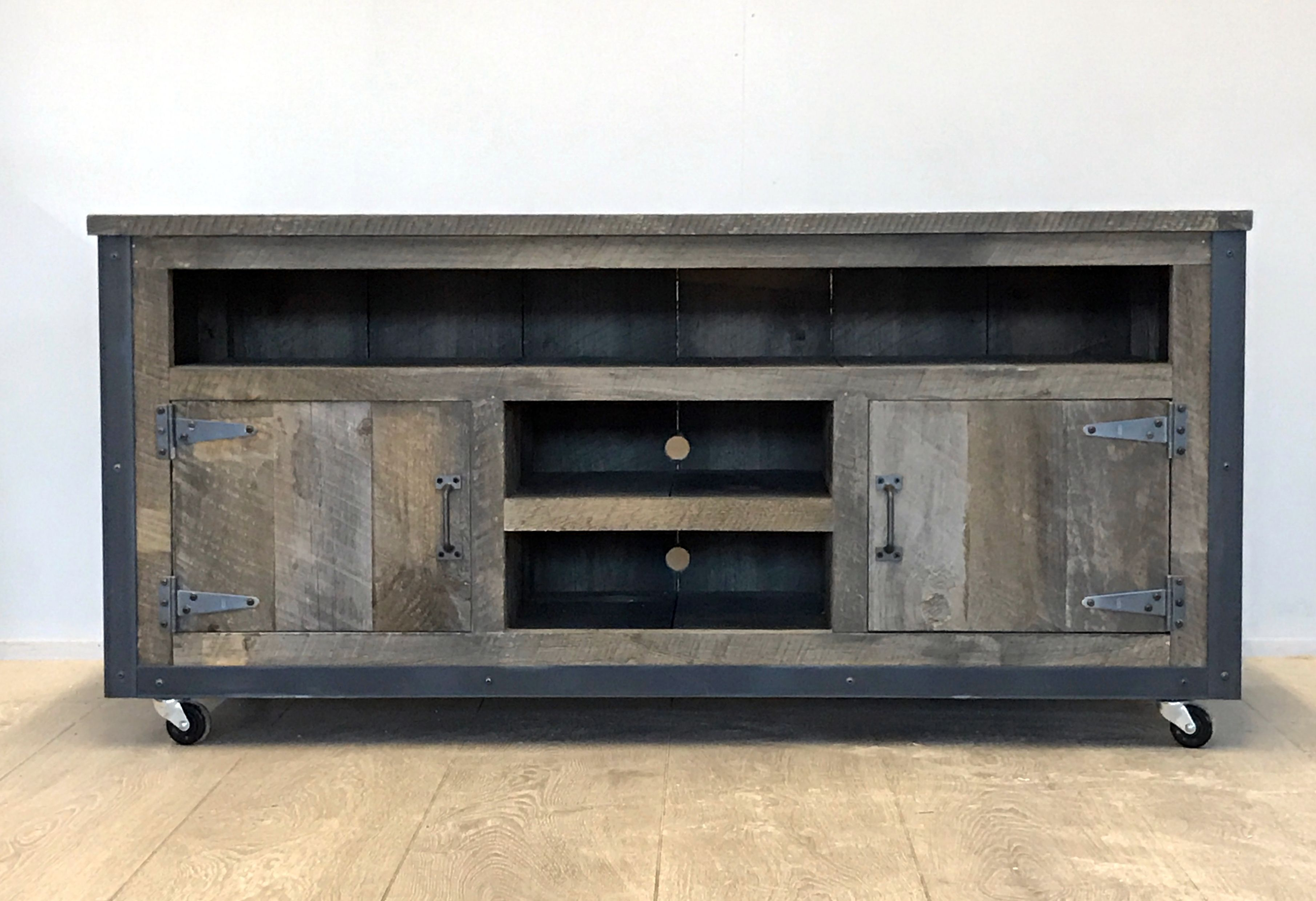 Most Up To Date Hand Made Rustic Industrial Weathered Barn Board Entertainment With Entertainment Center Tv Stands (View 15 of 20)