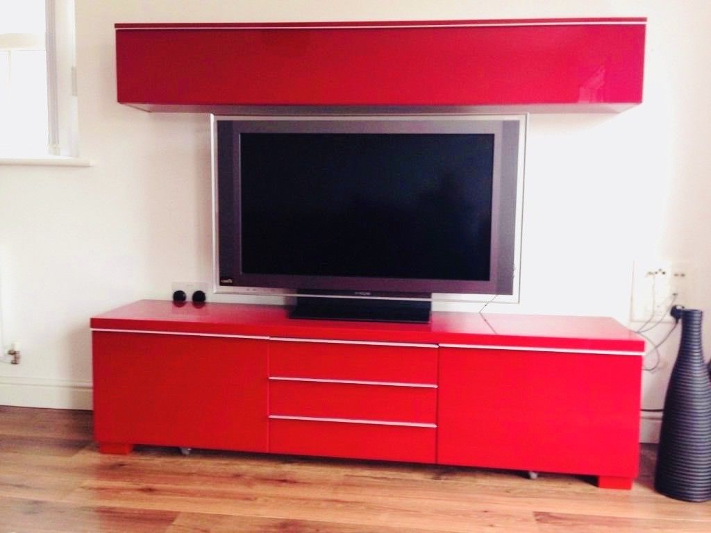 Most Up To Date Ikea Besta Burs Gloss Red Tv Stand, Drawer, Media Unit (View 13 of 20)