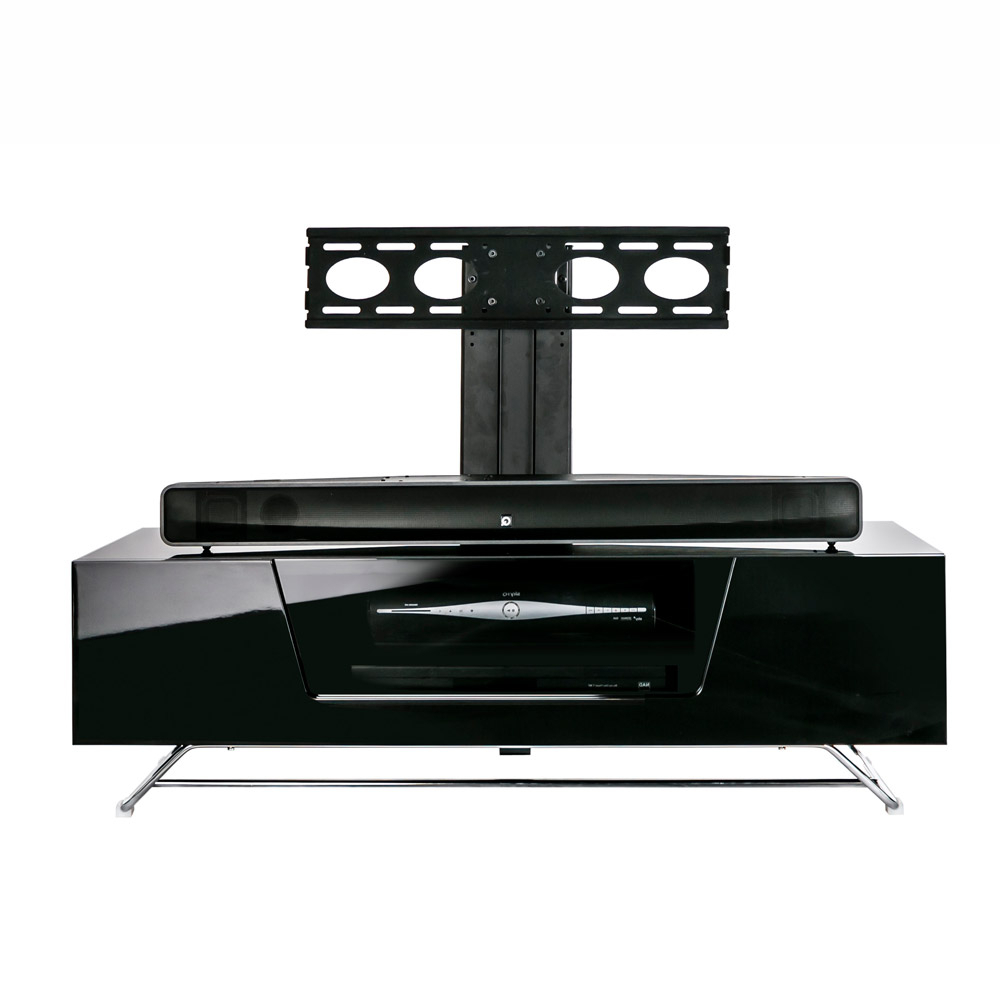 Most Up To Date Large Black Tv Unit Throughout Alphason Chromium 2 1200 Gloss Black Tv Cabinet W/ Tv Bracket (View 11 of 20)