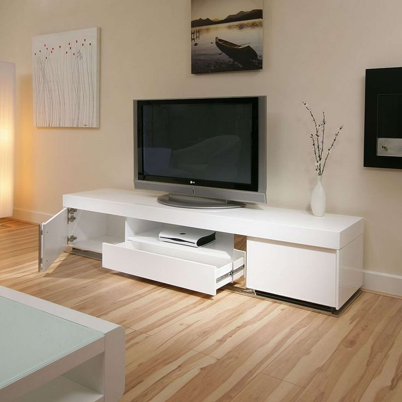 Most Up To Date Large White Tv Stands Intended For Furniture Accessories : Large Black White Wooden Ikea Tv Stand With (View 11 of 20)