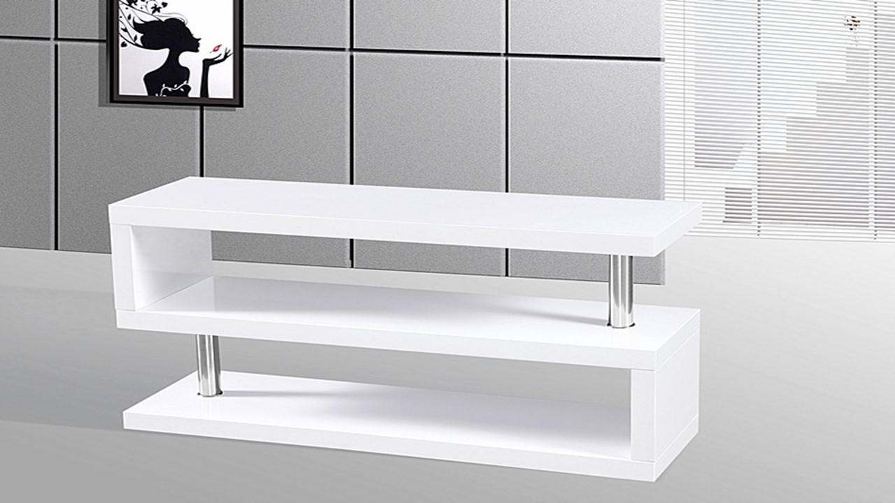 Most Up To Date Modern White Gloss Tv Stands Pertaining To Tv Stand Unit In White High Gloss – Homegenies (View 16 of 20)