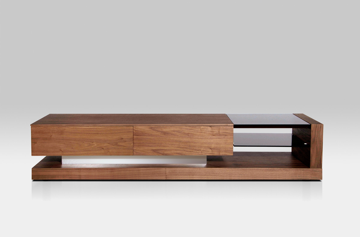 Most Up To Date Modrest Mali Modern Walnut Tv Stand Intended For Walnut Tv Cabinets With Doors (View 7 of 20)