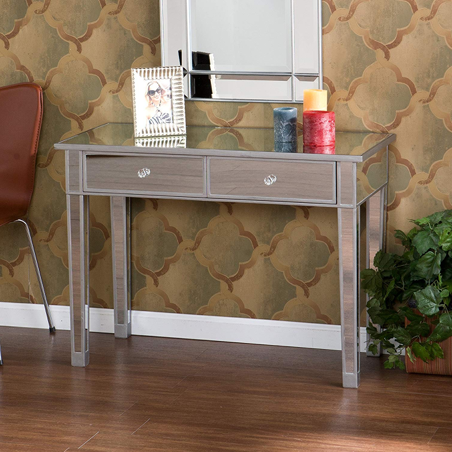 Most Up To Date Natural Wood Mirrored Media Console Tables Pertaining To Amazon: Harper Blvd Dalton Mirrored Accent Table: Kitchen & Dining (Gallery 15 of 20)