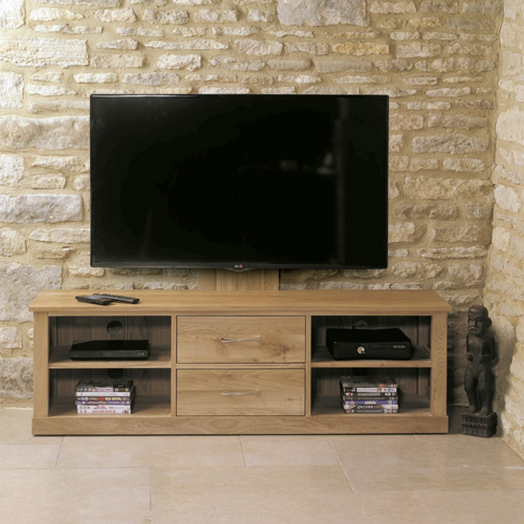 Most Up To Date Oak Widescreen Tv Units Throughout Baumhaus Mobel Oak Mounted Widescreen Television Cabinet From The (View 9 of 20)