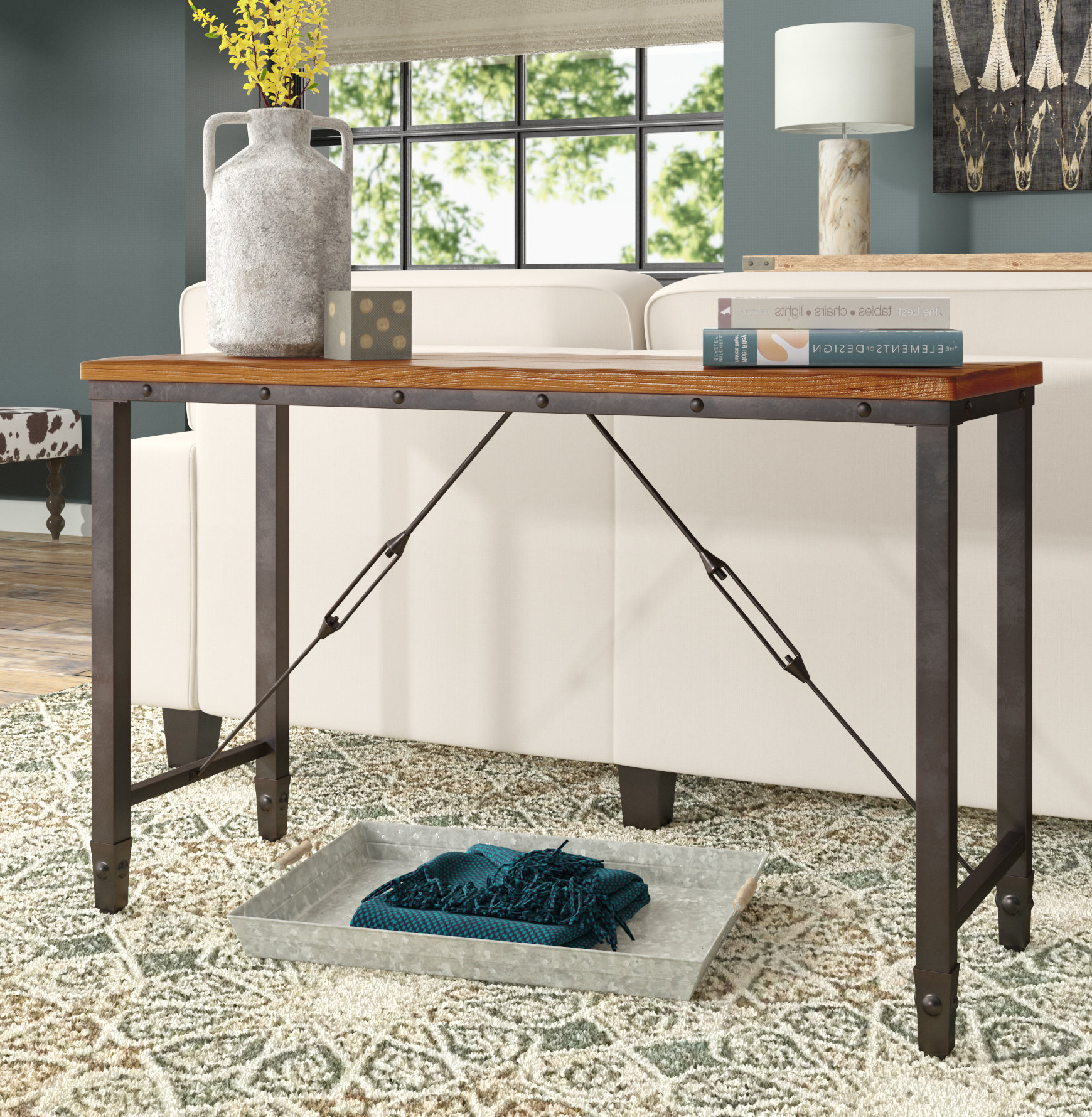 Most Up To Date Parsons Grey Solid Surface Top & Elm Base 48x16 Console Tables Within Industrial Console Tables You'll Love (View 5 of 20)