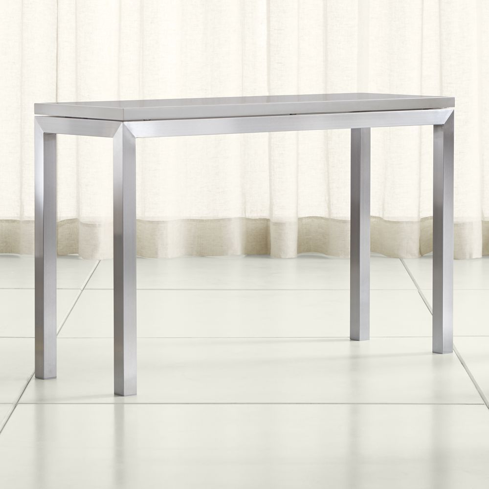 Most Up To Date Parsons Grey Solid Surface Top/ Stainless Steel Base 48X16 Console Regarding Parsons Grey Solid Surface Top & Stainless Steel Base 48X16 Console Tables (Gallery 1 of 20)