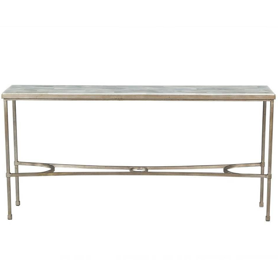 Most Up To Date Roman Metal Top Console Tables Regarding Dove White Split Face Stone Top Metal Console Table (View 9 of 20)