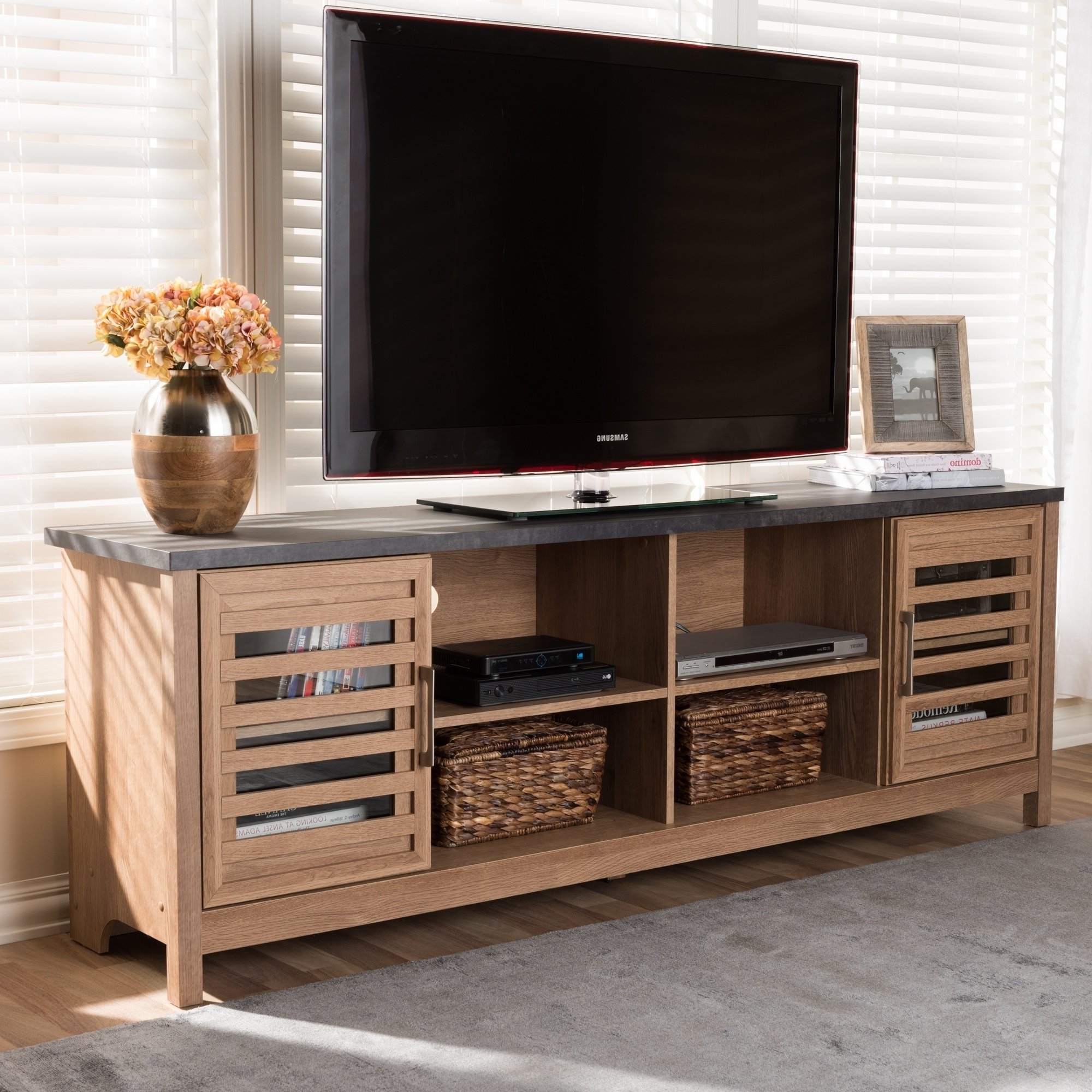 Most Up To Date Shop Strick & Bolton Opie Contemporary Light Brown And Grey Tv Stand Within Light Colored Tv Stands (View 15 of 20)