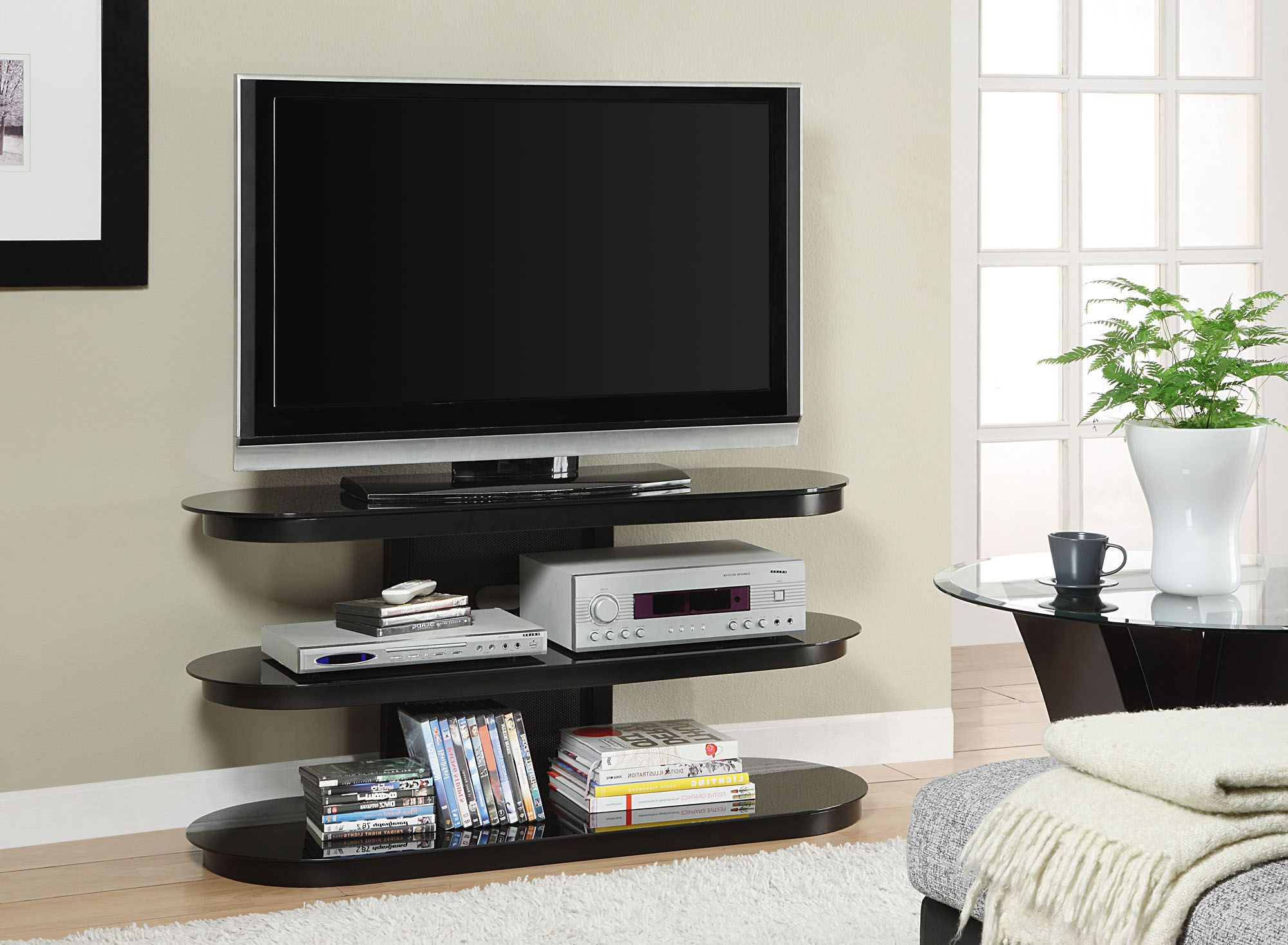 Most Up To Date Tv Stands Rounded Corners With Regard To Round Glass Tv Stanf (Gallery 16 of 20)