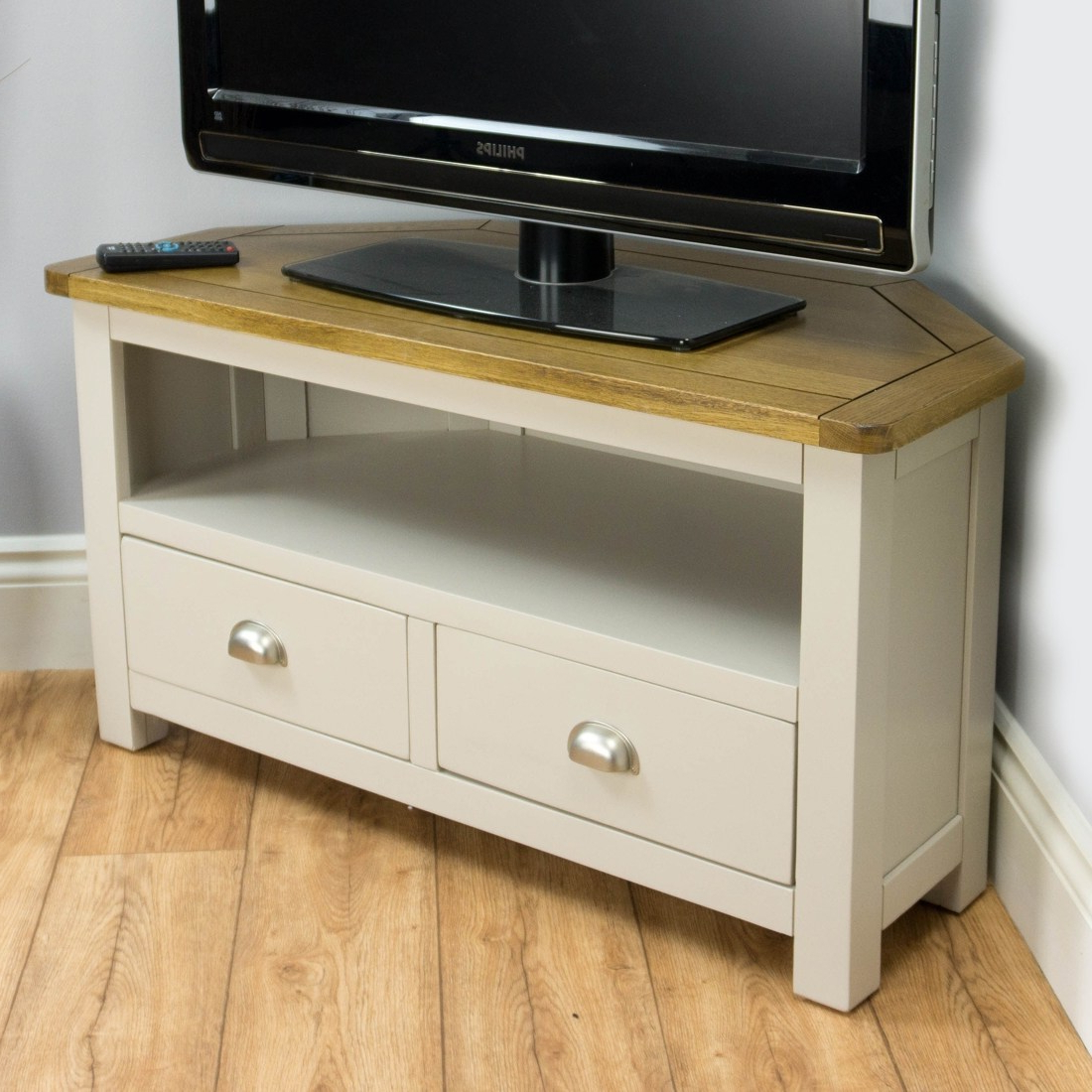 Most Up To Date Wellington Oak Corner Tv Unit / Painted Tv Stand / Grey With Solid Intended For Oak Corner Tv Stands (View 6 of 20)