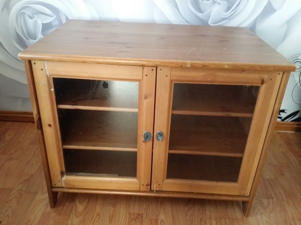 Most Up To Date Wooden Tv Stands With Glass Doors With Ikea Wooden Tv Stand Unit Cupboard Cabinet Display With Shelves And (View 11 of 20)