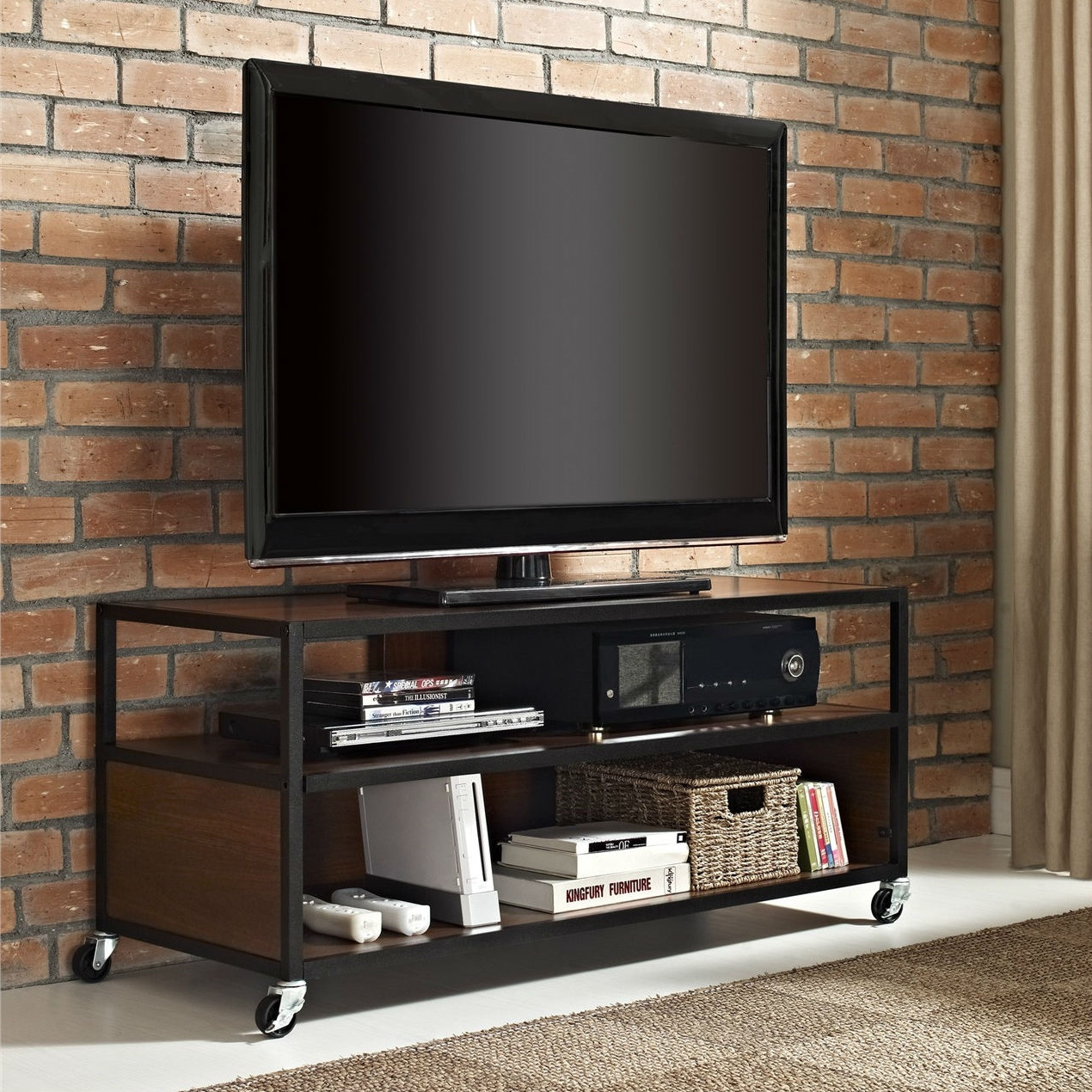 Mounted Flat For Diy Center Row Lo Screen Wall Ideas Fireplace Small With Regard To 2017 Small Tv Stands On Wheels (Gallery 17 of 20)