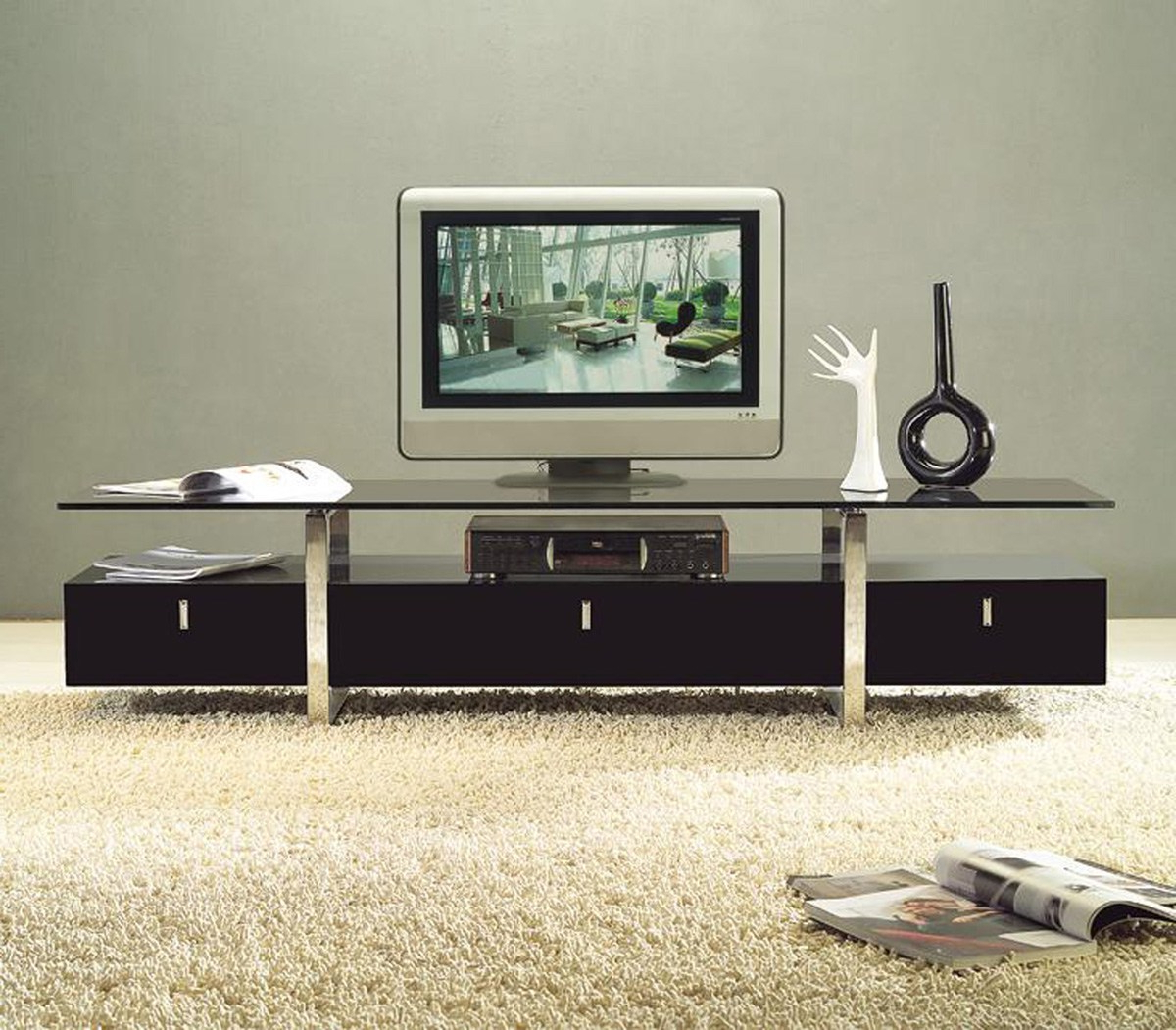 Mutable Tv Stand Living Room Decor Presenting Tempered Glass Wooden Throughout Newest Glass Tv Cabinets (View 13 of 20)