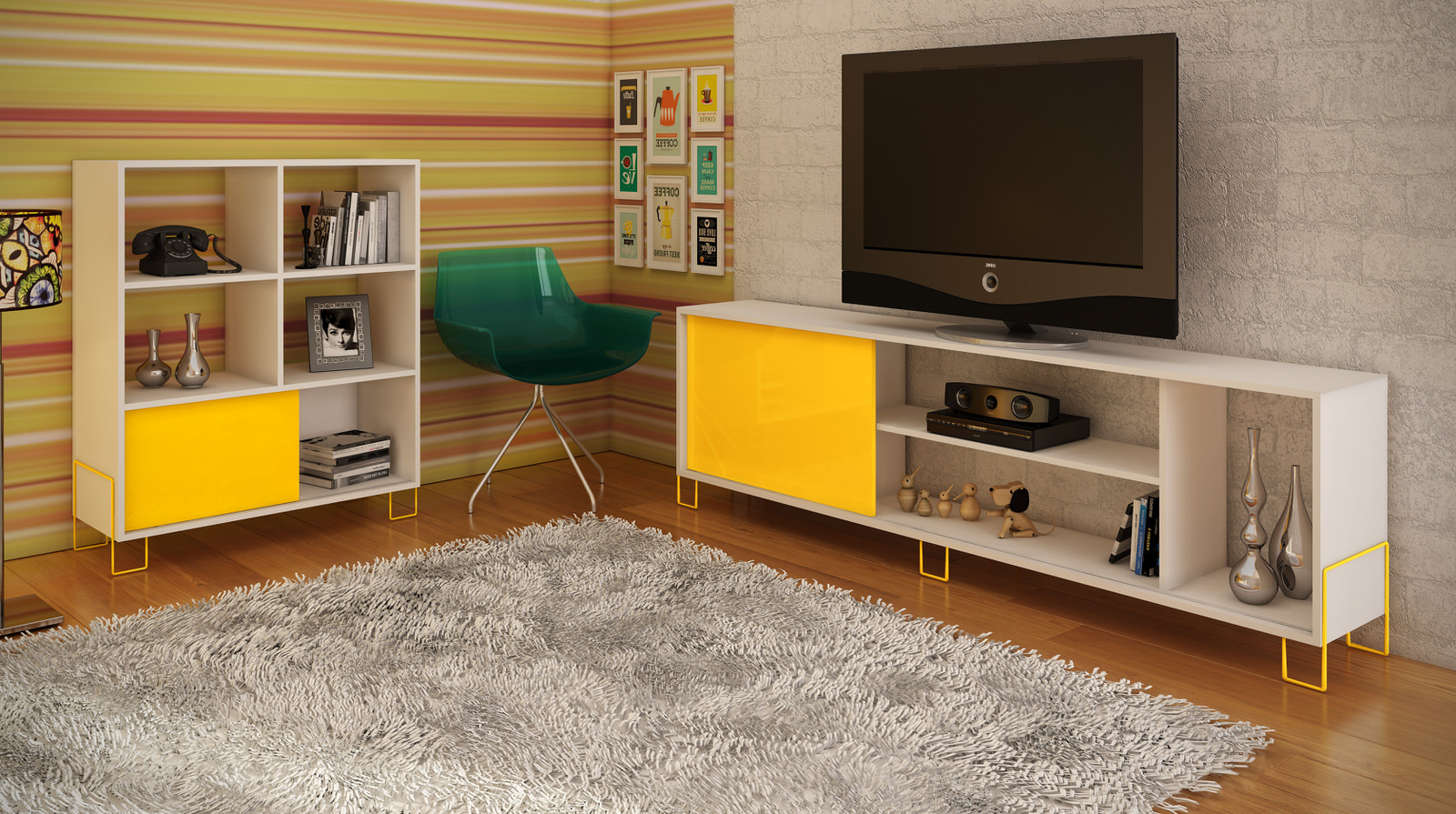 Nacka White & Yellow Tv Stand 1.0 W/ 4 Shelvesmanhattan Comfort Throughout Best And Newest Yellow Tv Stands (Gallery 9 of 20)