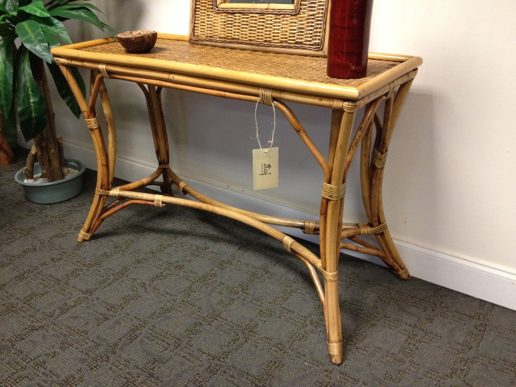 Natural Rattan Console Table : Console Table – Rattan Console Table Pertaining To Recent Natural Cane Media Console Tables (Gallery 20 of 20)