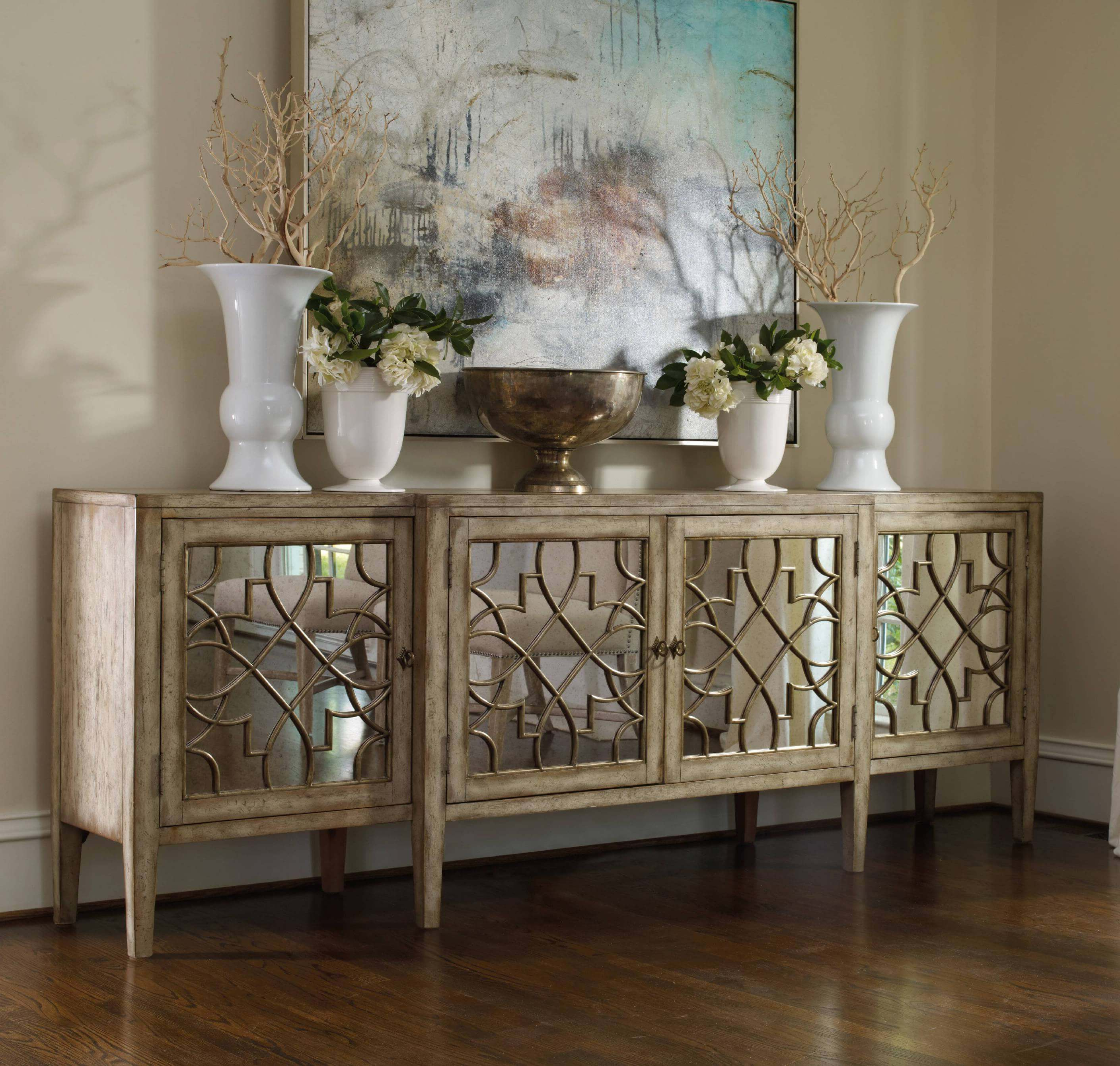 Natural Wood Mirrored Media Console Tables For Best And Newest 30 Best Rustic Glam Decoration Ideas And Designs For 2019 (Gallery 13 of 20)