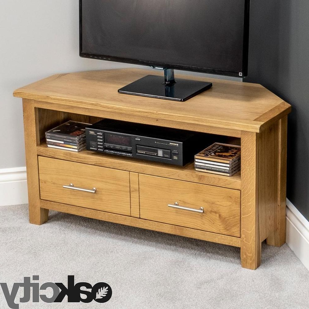 Nebraska Modern Oak Corner Tv Unit / Solid Wood Tv Stand / Oiled Throughout Famous Solid Oak Tv Cabinets (View 8 of 20)