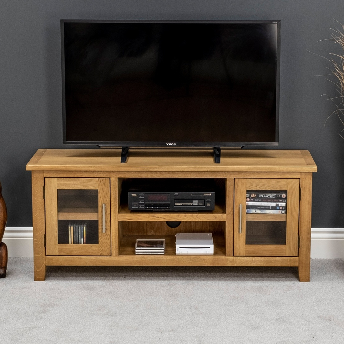 Nebraska Modern Oak Large Tv Unit / Solid Wood Tv Stand / Oiled Tv Pertaining To 2017 Solid Oak Tv Stands (Gallery 13 of 20)