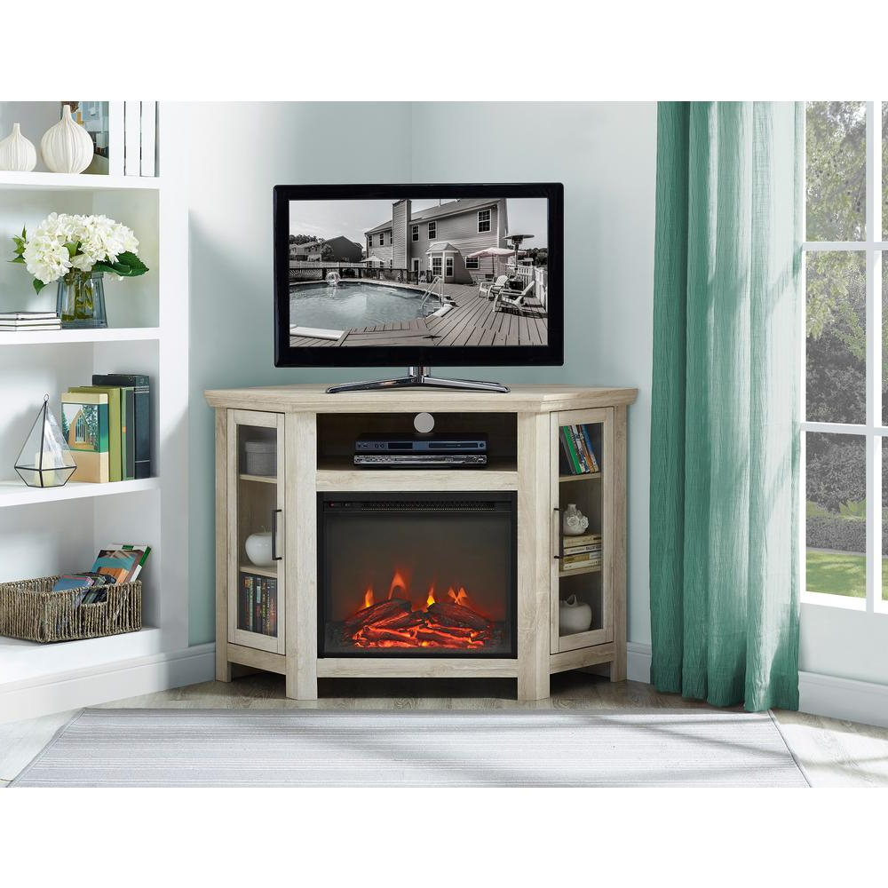 Newest Amazon Com We Furniture 48 Corner Tv Stand Fireplace Console In White Wood Corner Tv Stands (Gallery 12 of 20)