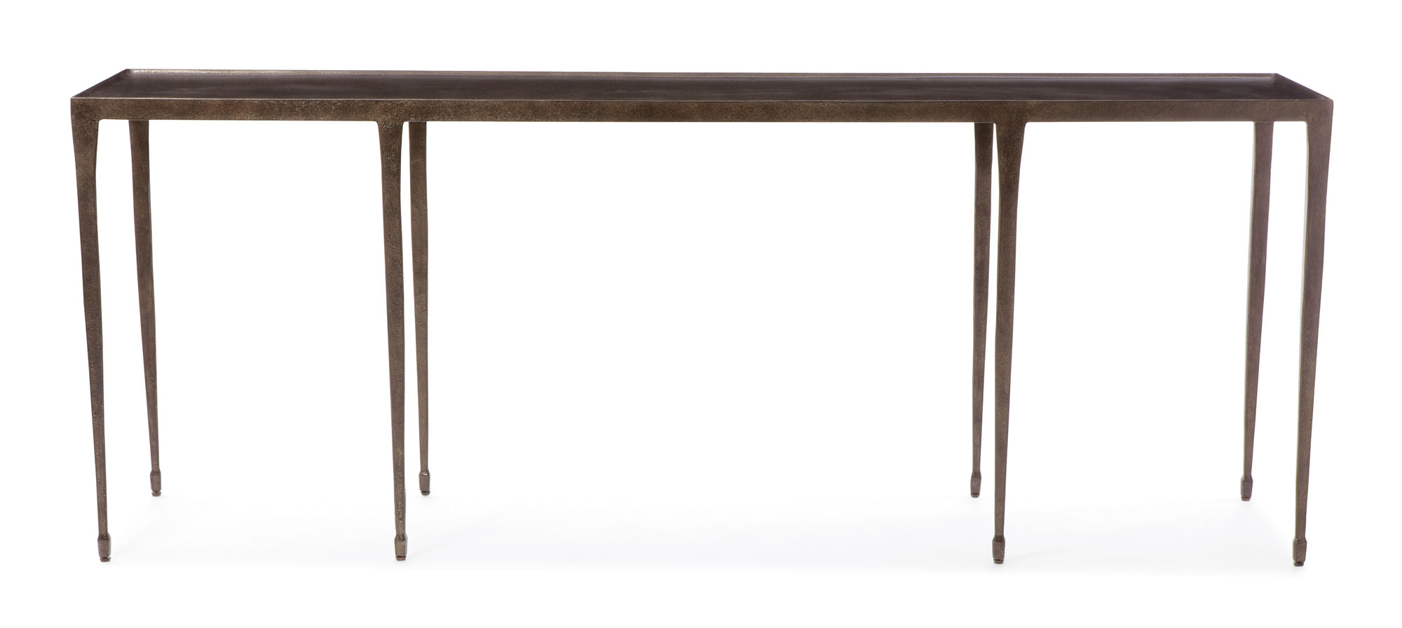 Newest Bernhardt Console Table Halden 84 Inch Hammered Iron Distressed Pertaining To Silviano 84 Inch Console Tables (Gallery 3 of 20)