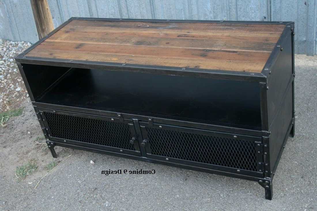 Newest Buy A Hand Made Vintage Industrial Tv Stand. Steel & Reclaimed Wood In Industrial Tv Stands (Gallery 13 of 20)