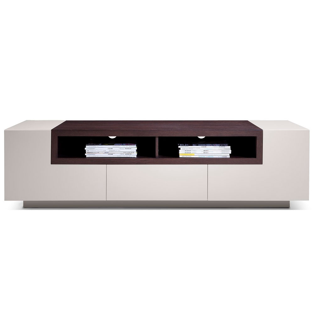 Newest Garda Tv Stand In White High Gloss & Dark Oak – City Schemes Inside White High Gloss Tv Stands (View 9 of 20)
