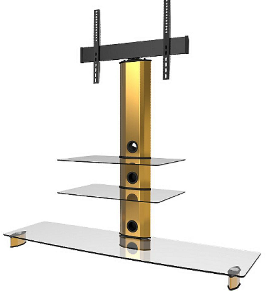 Newest Goldine Gold Cantilever Tv Stand With Bracket 3 Clear Shelves For Tv Stands With Bracket (View 10 of 20)