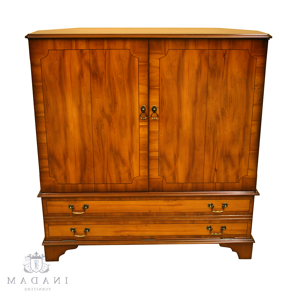 Newest Inadam Furniture – Fully Enclosed Tv Cabinet – In Mahogany/yew/oak With Regard To Enclosed Tv Cabinets With Doors (Gallery 1 of 20)