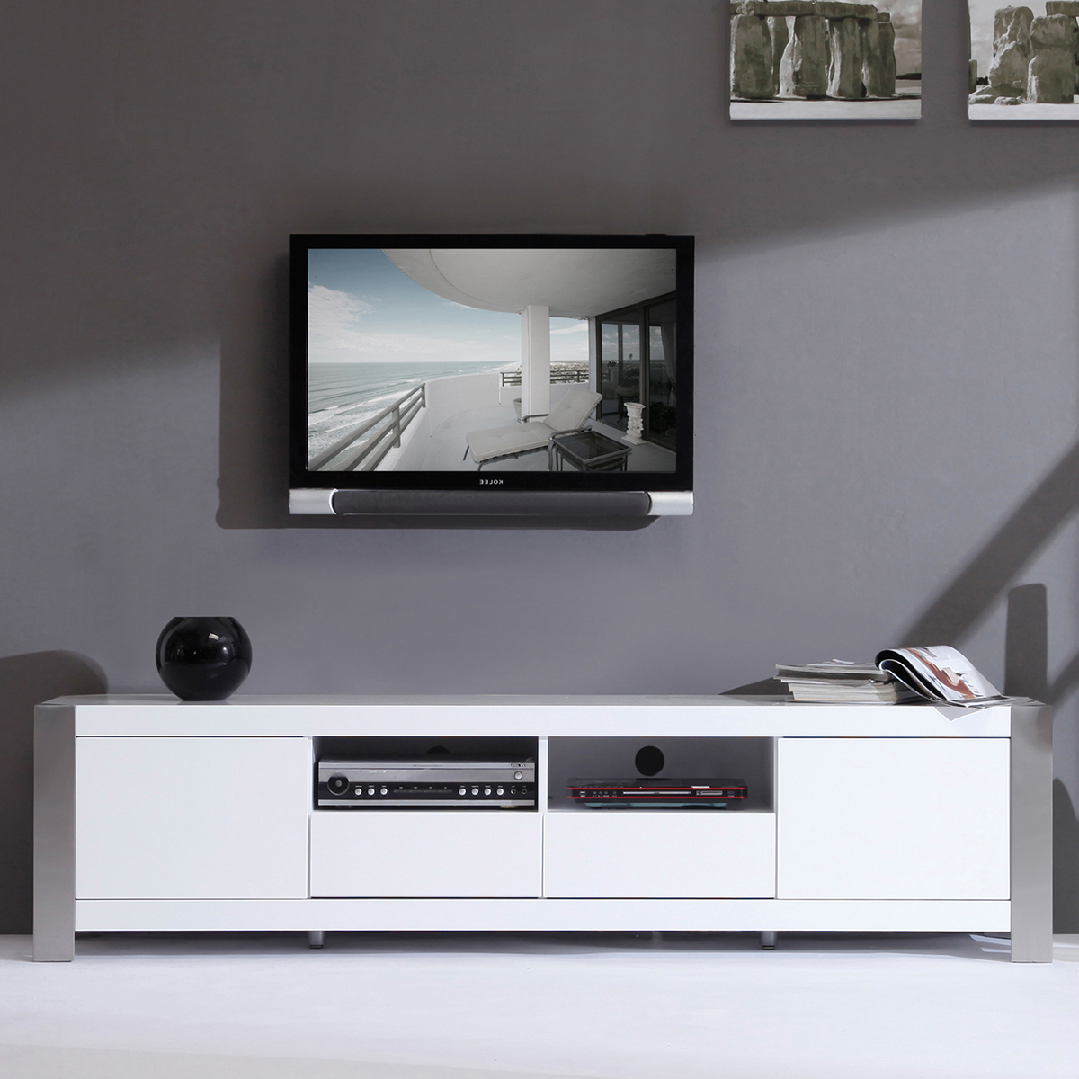 Newest Led Tv Stand White Modern With Fireplace Industrial Diy Floating Pertaining To Modern White Lacquer Tv Stands (Gallery 3 of 20)