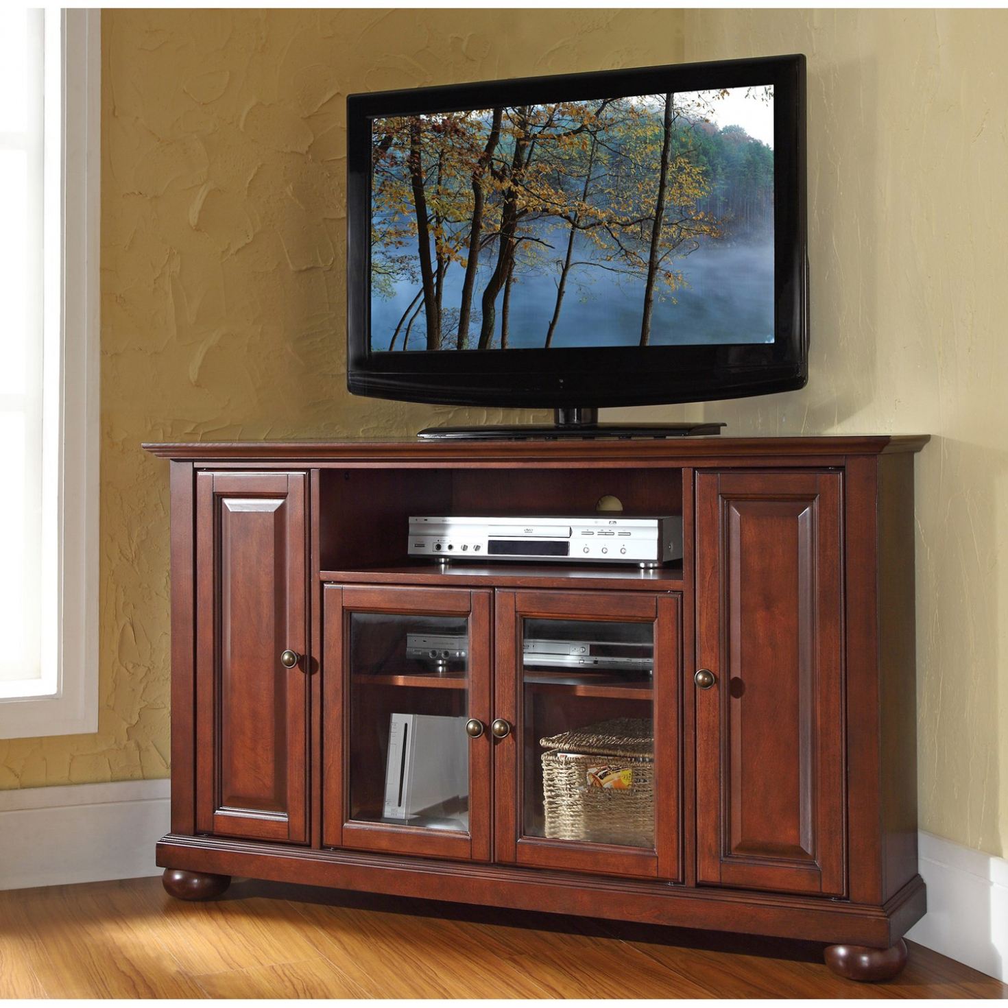 "Newest Mahogany Corner Tv Stands For Living Room: Crosley Furniture Alexandria 48"" Corner Tv Stand (Gallery 20 of 20)"