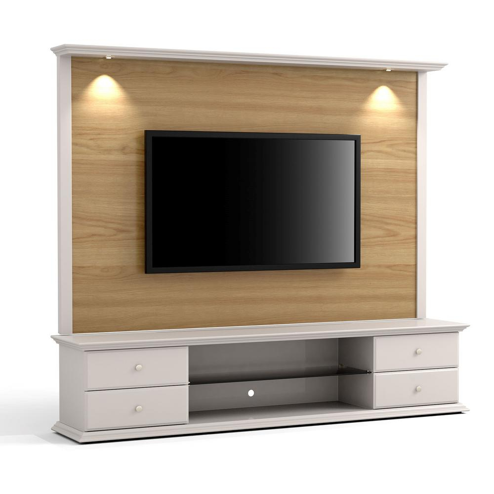 Newest Manhattan Comfort Carder Nature Wood And Off White 2 Piece Tv Stand And  Panel With Led Lights Within Tv Stands With Back Panel (Gallery 15 of 20)