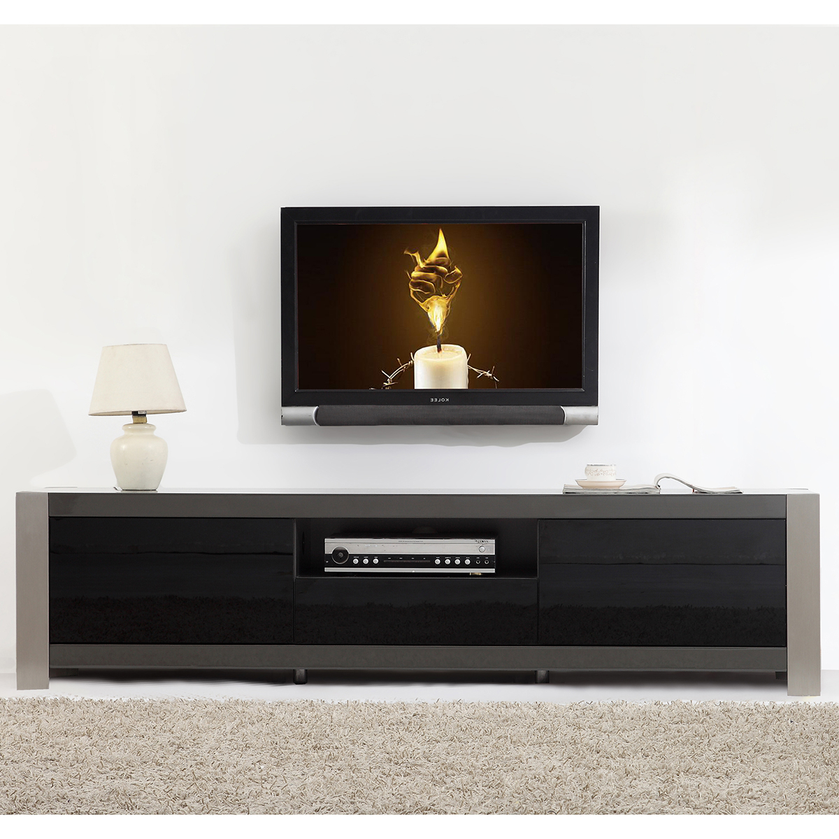 Newest Modern Tv Stand With Electric Fireplace Black For Sale Stands Uk With Regard To Walnut And Black Gloss Tv Units (View 10 of 20)