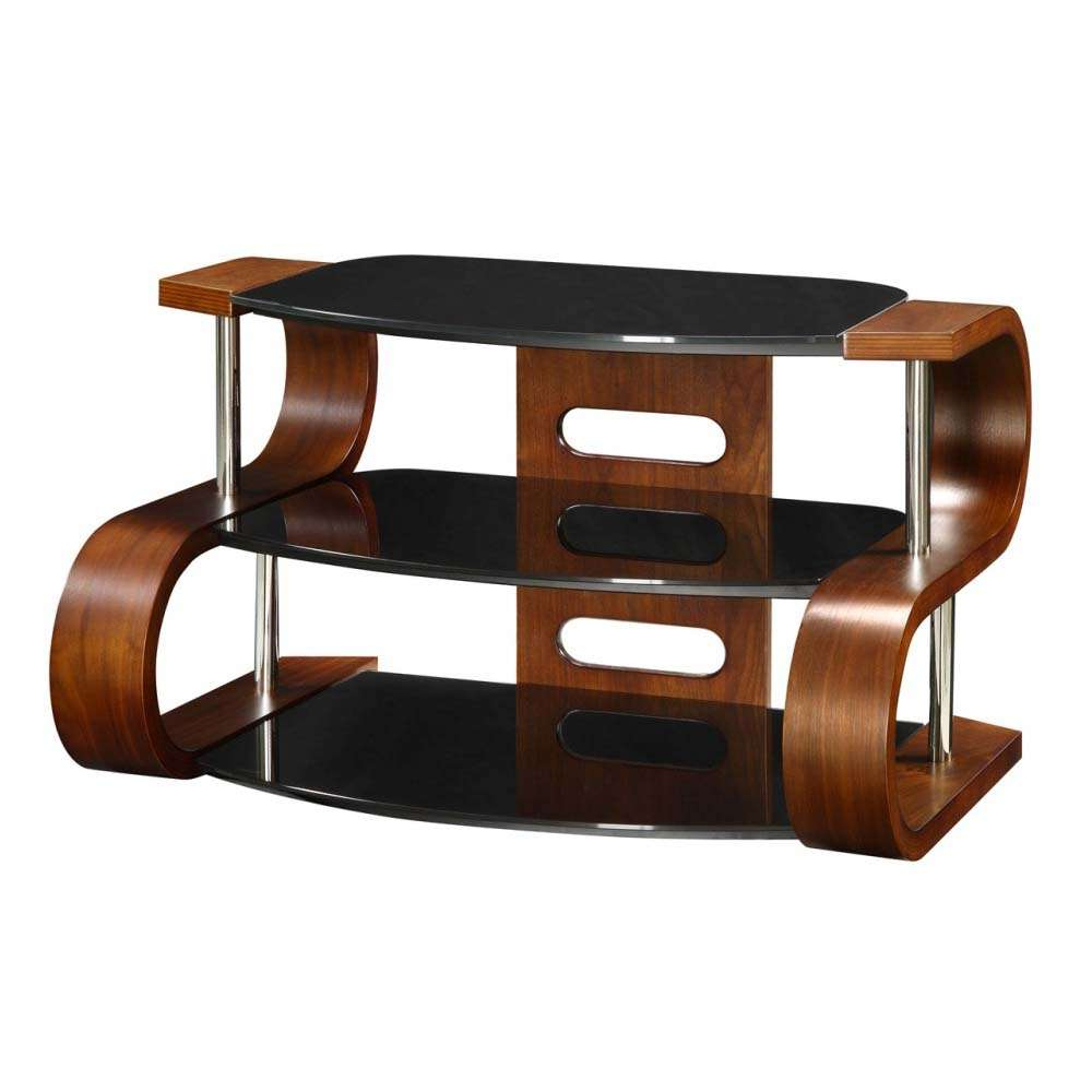Newest Modern Walnut Tv Stands Intended For Unusual Dark Wooden Modern Tv Stand 3 Tier Black Glass (Gallery 18 of 20)