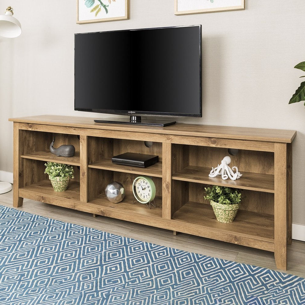 Newest Preston 66 Inch Tv Stands Inside Amazon: New 70 Inch Wide Barnwood Finish Television Stand (Gallery 2 of 20)