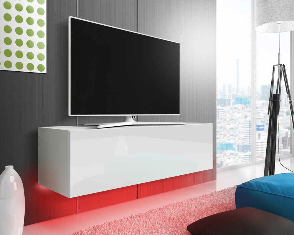 Newest Red Gloss Tv Cabinets Within Mason White Gloss Floating Tv Stand (View 7 of 20)
