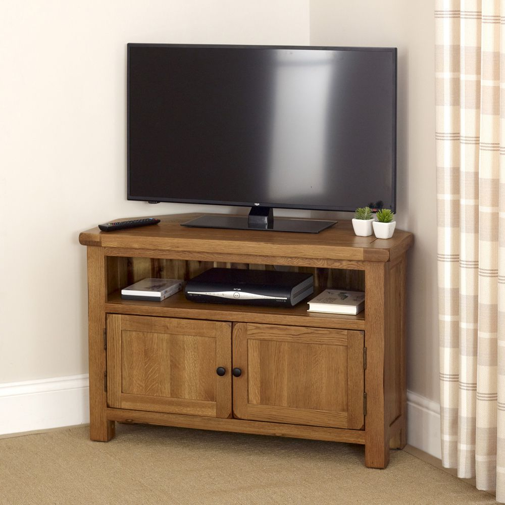 "Newest Rustic Oak Corner Tv Unit – To Fit Tv's Up To 44"" (Gallery 17 of 20)"
