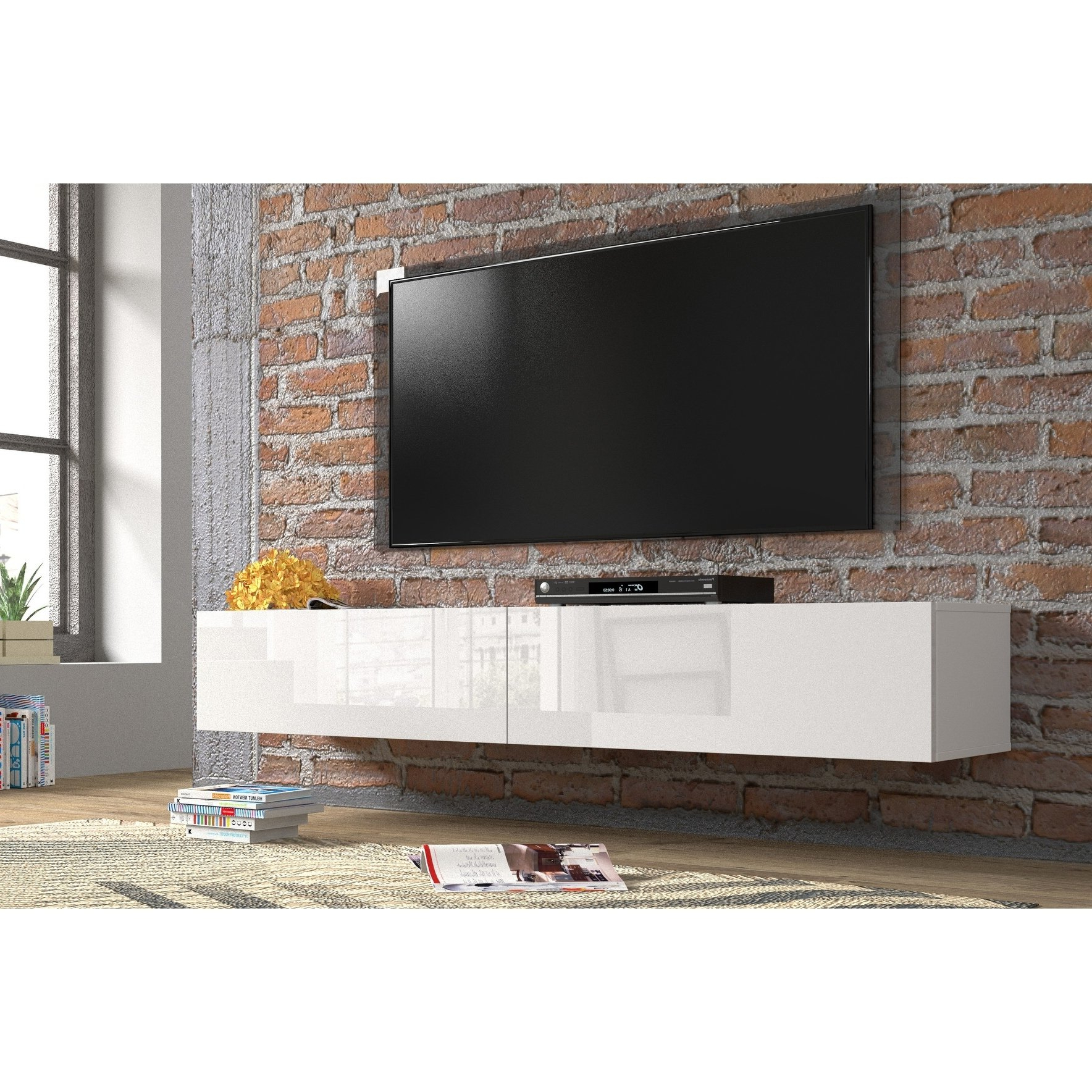 "Newest Shop Berno Modern High Gloss Wall Mounted Floating 71"" Tv Stand For Modern Wall Mount Tv Stands (View 18 of 20)"