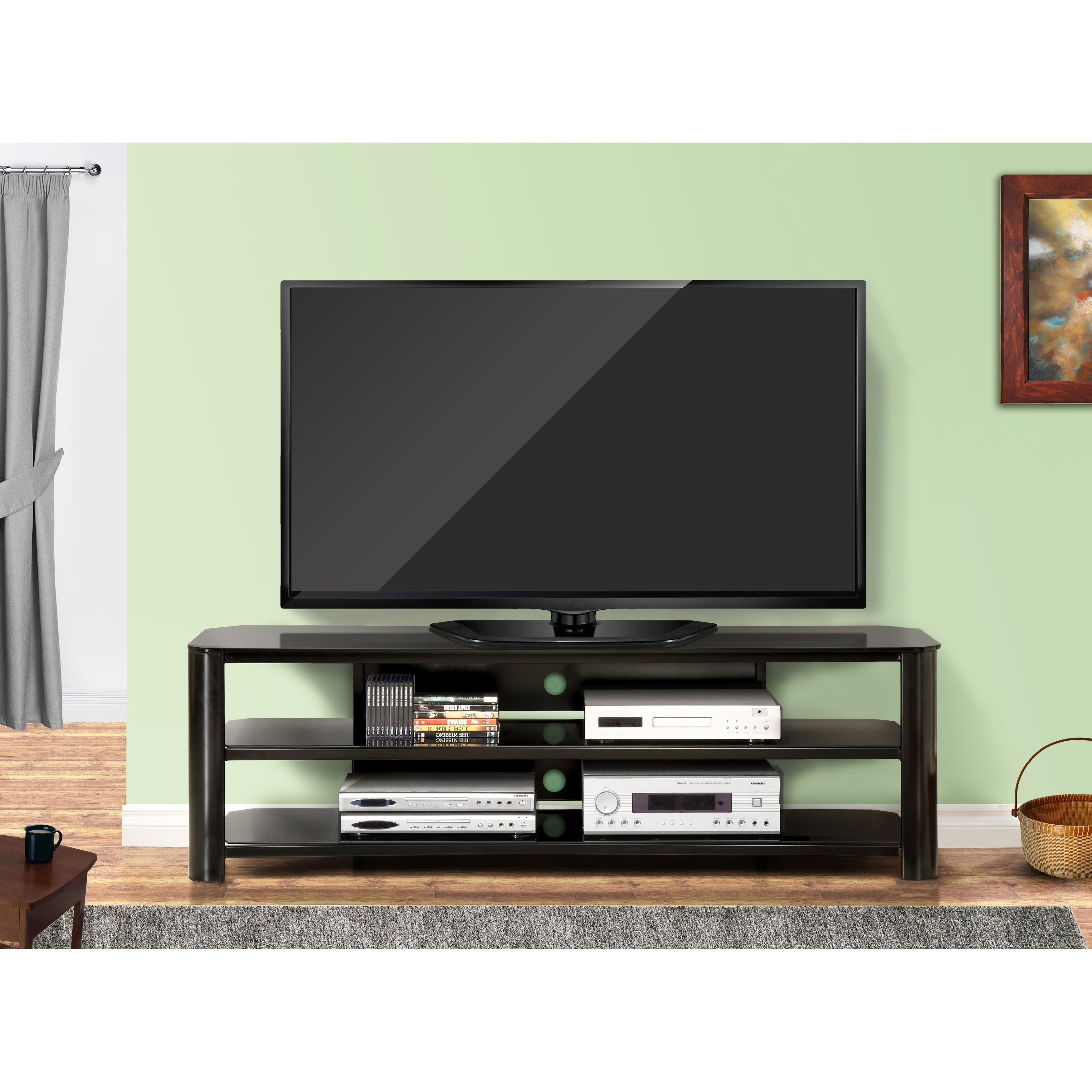 Newest Shop Fold 'n' Snap Oxford Ez Black Innovex Tv Stand – Free Shipping With Oxford 84 Inch Tv Stands (Gallery 12 of 20)