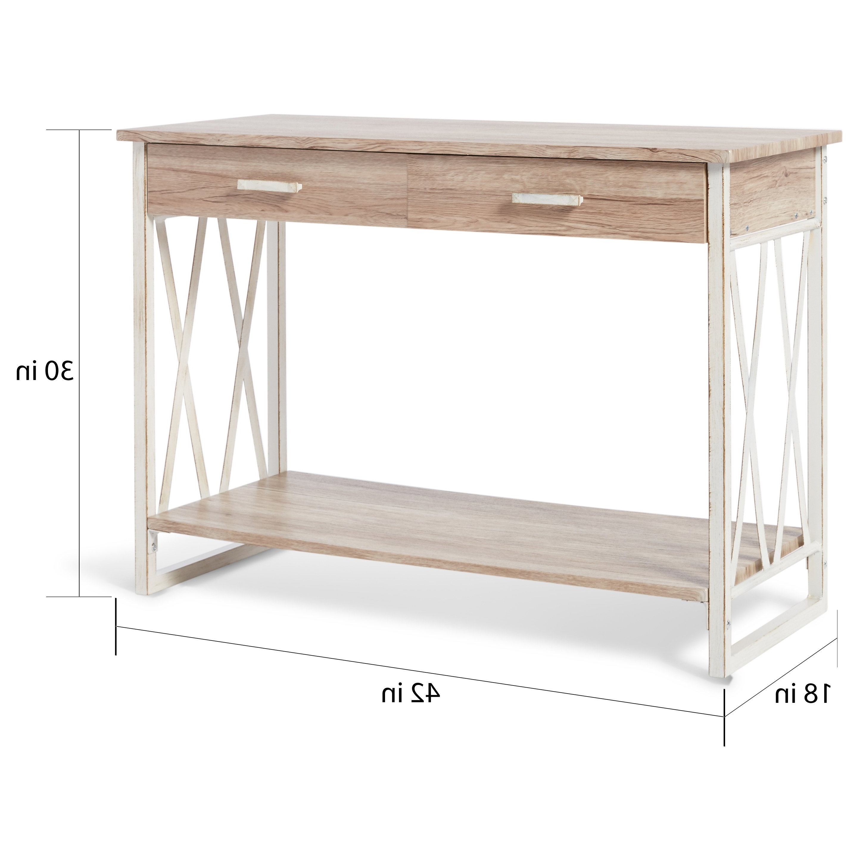 Newest Shop Seneca Reclaimed Finish Sofa Table – Free Shipping Today For Mix Leather Imprint Metal Frame Console Tables (View 7 of 20)