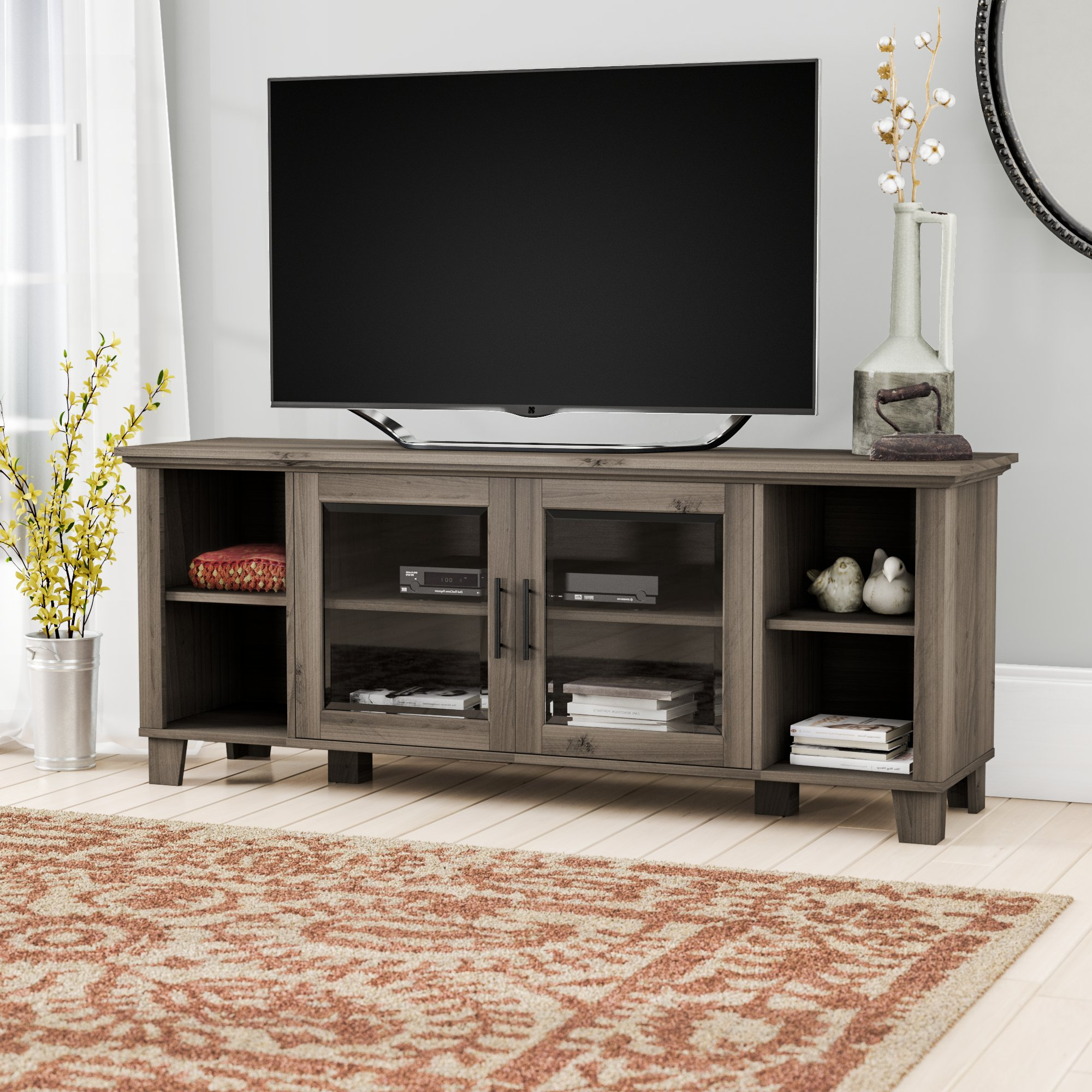 Newest Sinclair Blue 64 Inch Tv Stands Inside Grey Tv Stands (View 12 of 20)