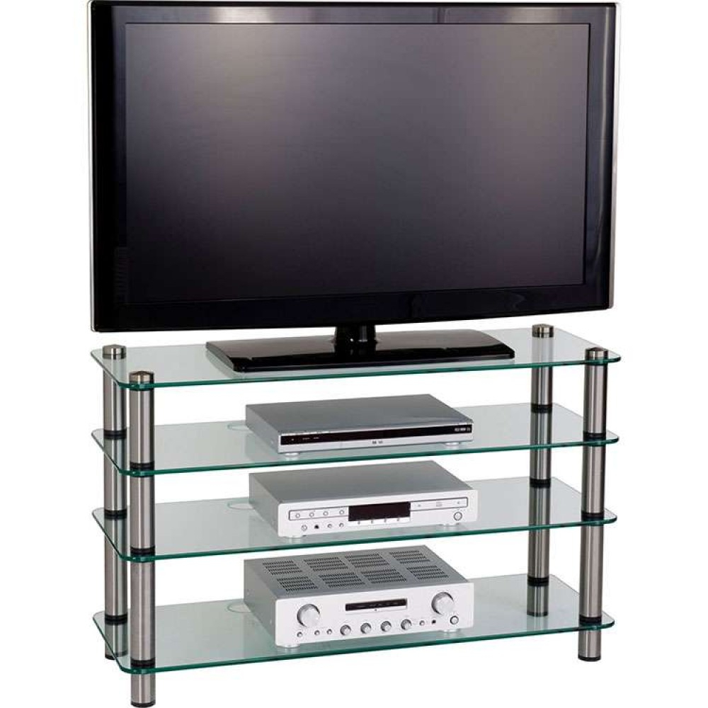 Newest Slimline Tv Stands Pertaining To 4 Tier Glass Shelves Display Flatscreen Tv Stand Unit (View 9 of 20)