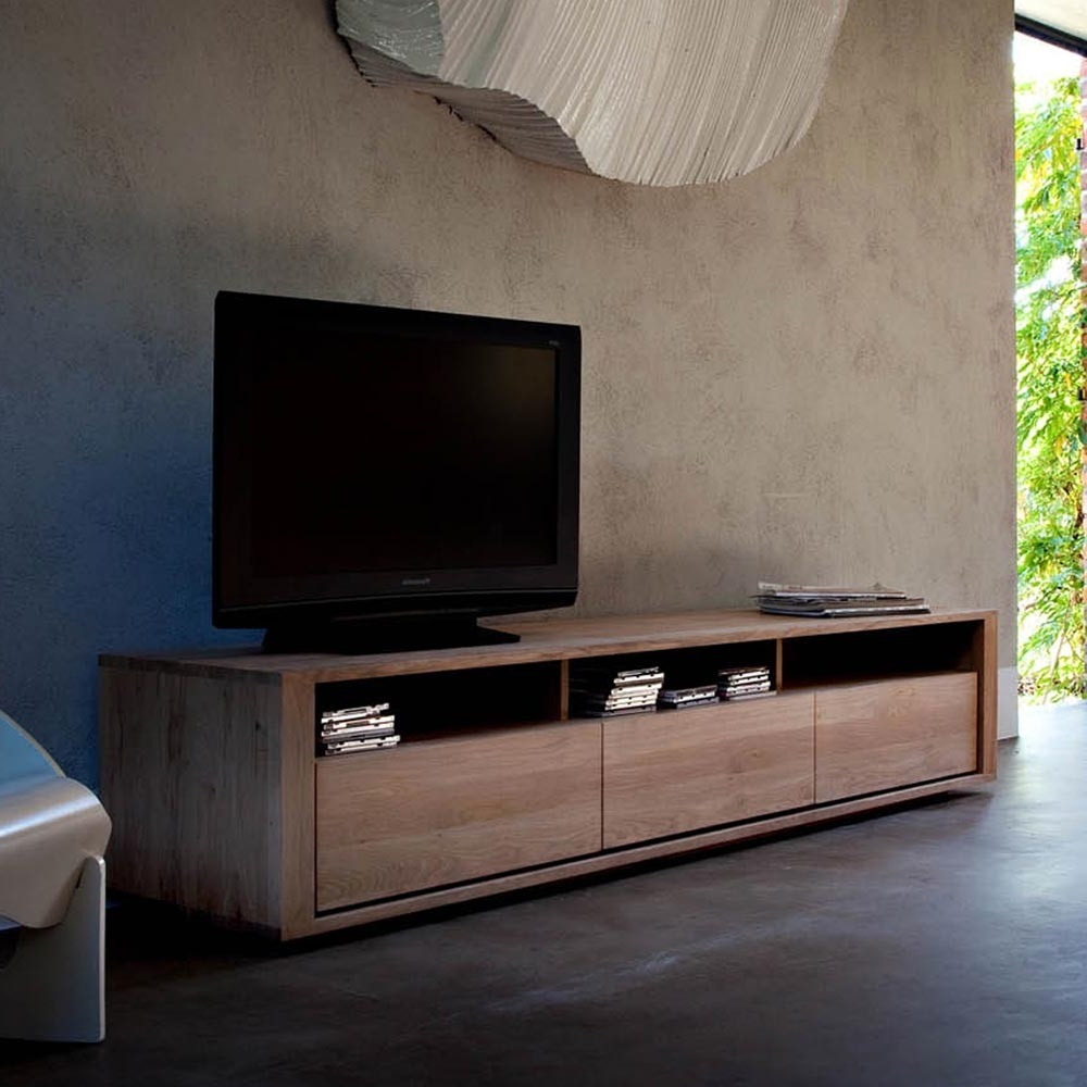 Newest Solid Oak Tv Stands With Ethnicraft Shadow Oak Tv Unit (View 11 of 20)