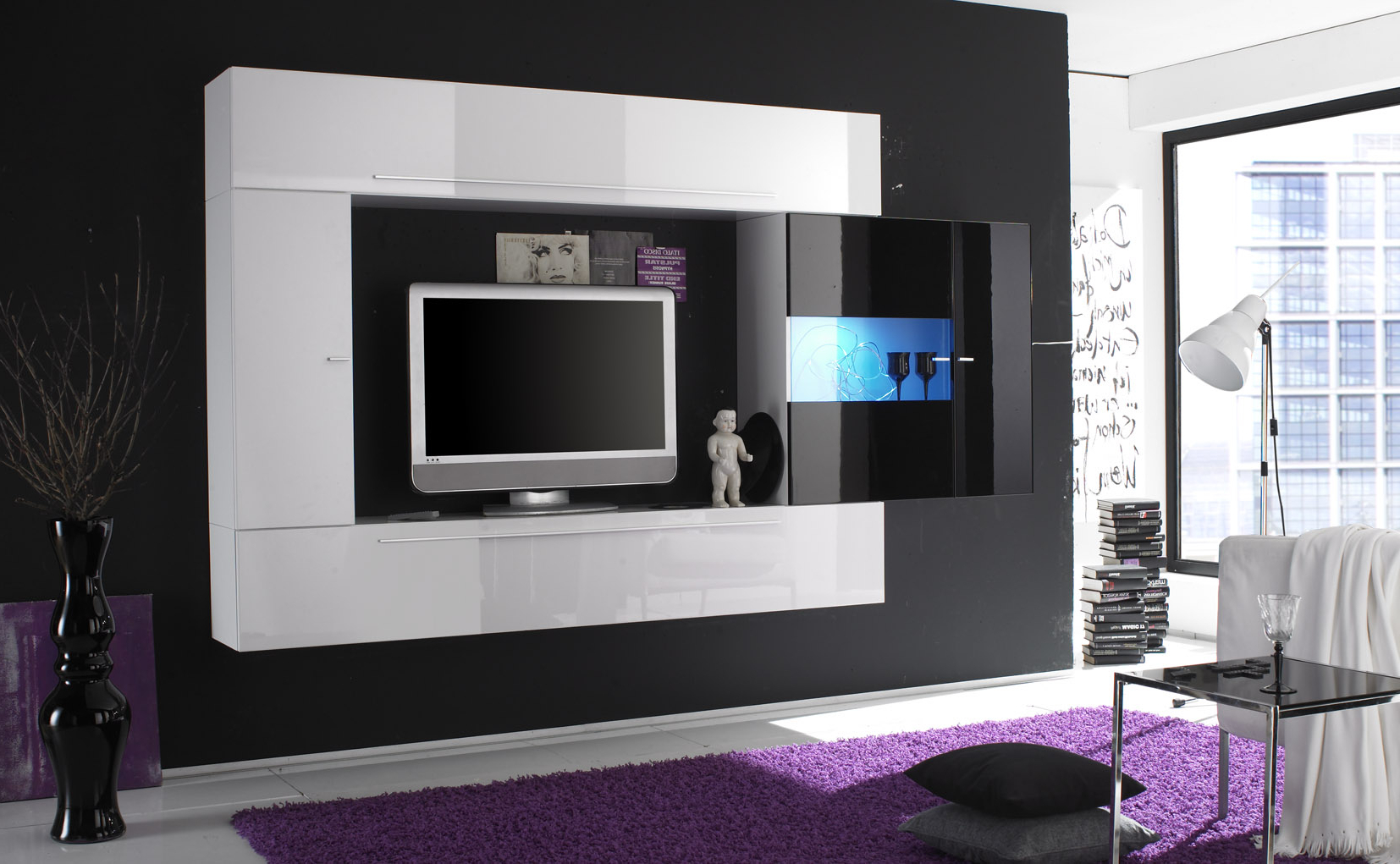 Newest Tv Units Black Pertaining To Luxury Minimalistic Modern Wall Units On Dark Grey Wall With Tv (View 17 of 20)