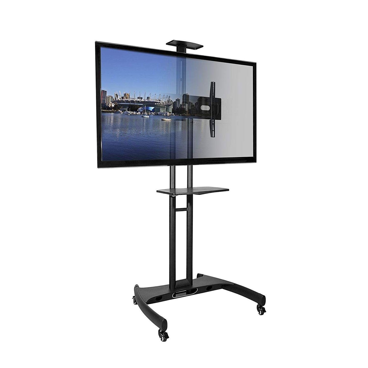 Newest Tv With Stands Pertaining To Kanto Mobile Tv Stand With Adjustable Shelf And Flat Screen Mount (View 8 of 20)