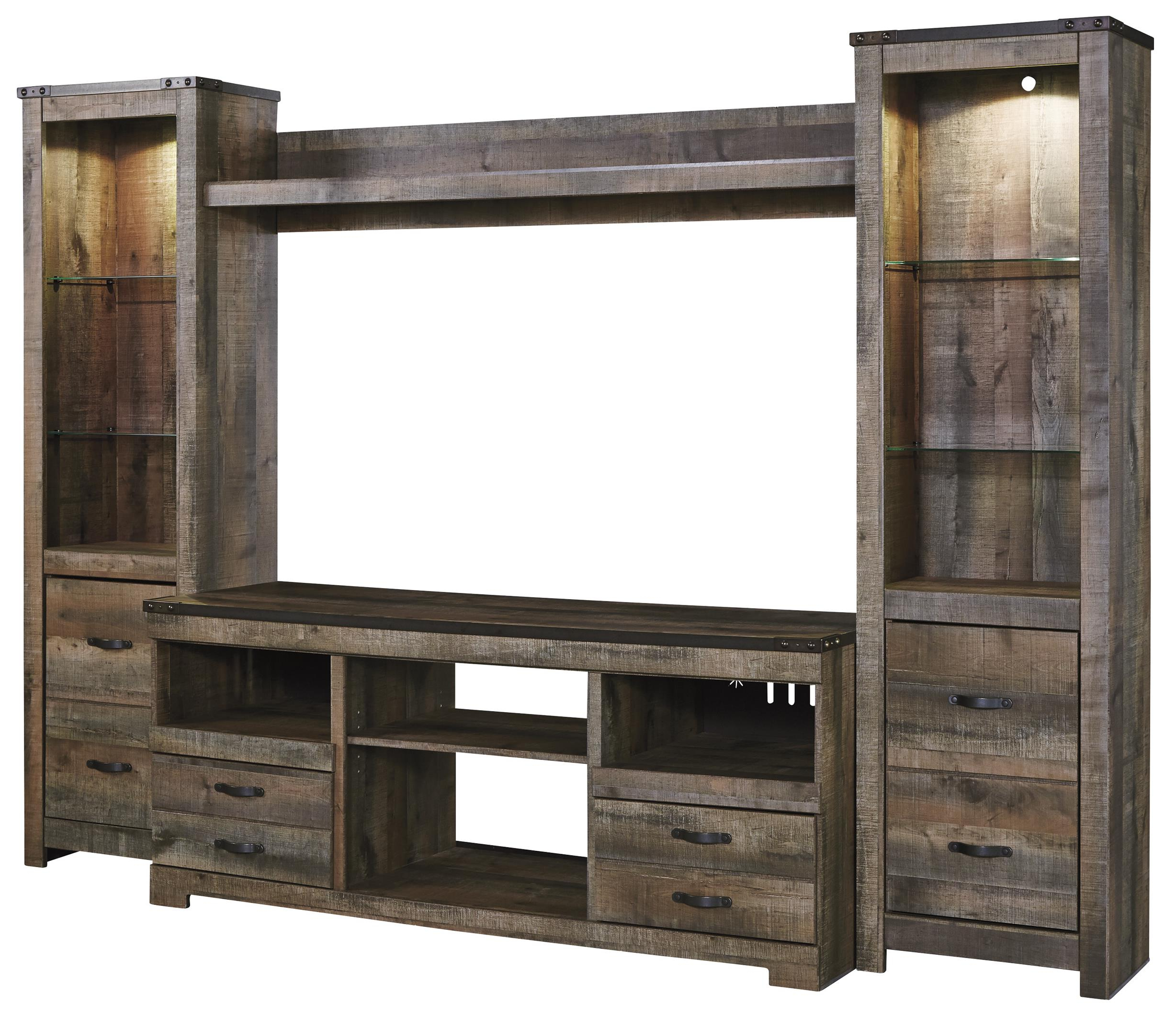 Newest Urban Rustic Rustic Large Tv Stand & 2 Tall Piers W/ Bridge In Rustic Tv Stands (View 6 of 20)