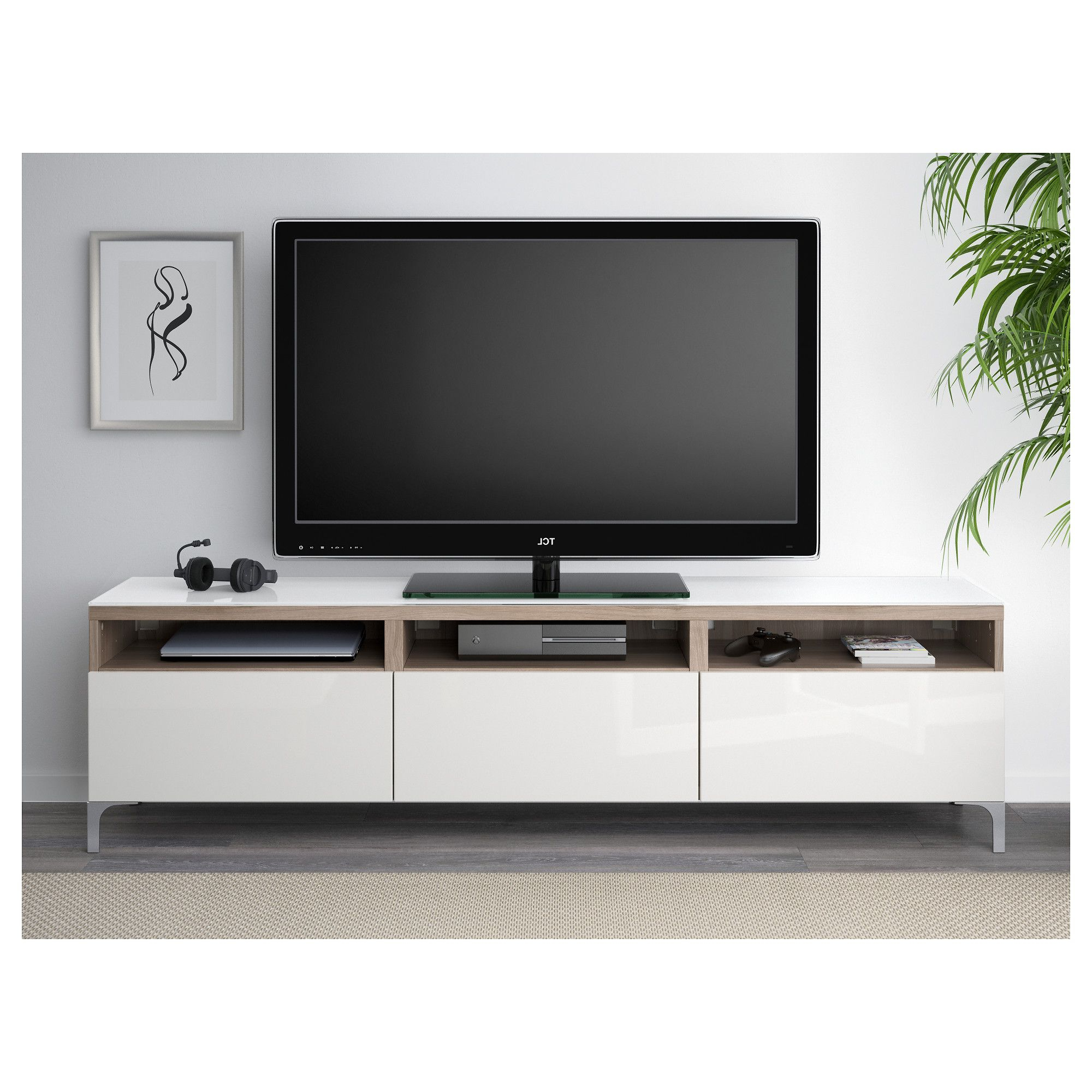 Newest Walnut And Black Gloss Tv Units Regarding Bestå Tv Unit With Drawers, Walnut Effect Light Gray, Selsviken High (Gallery 7 of 20)